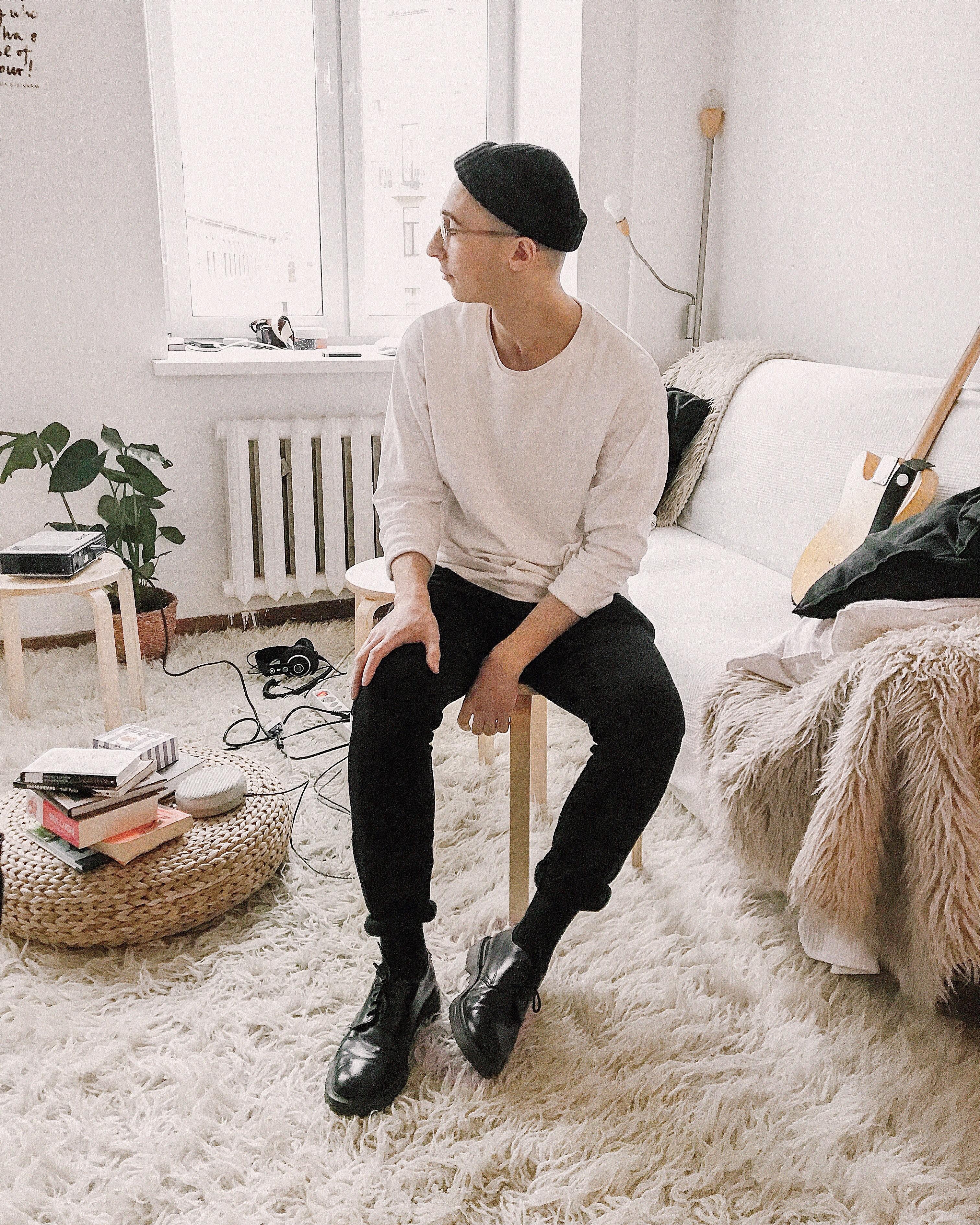Man Wearing White Sweater With Black Pants, Bonnet, Chair, Eyewear, Furnitures, HQ Photo