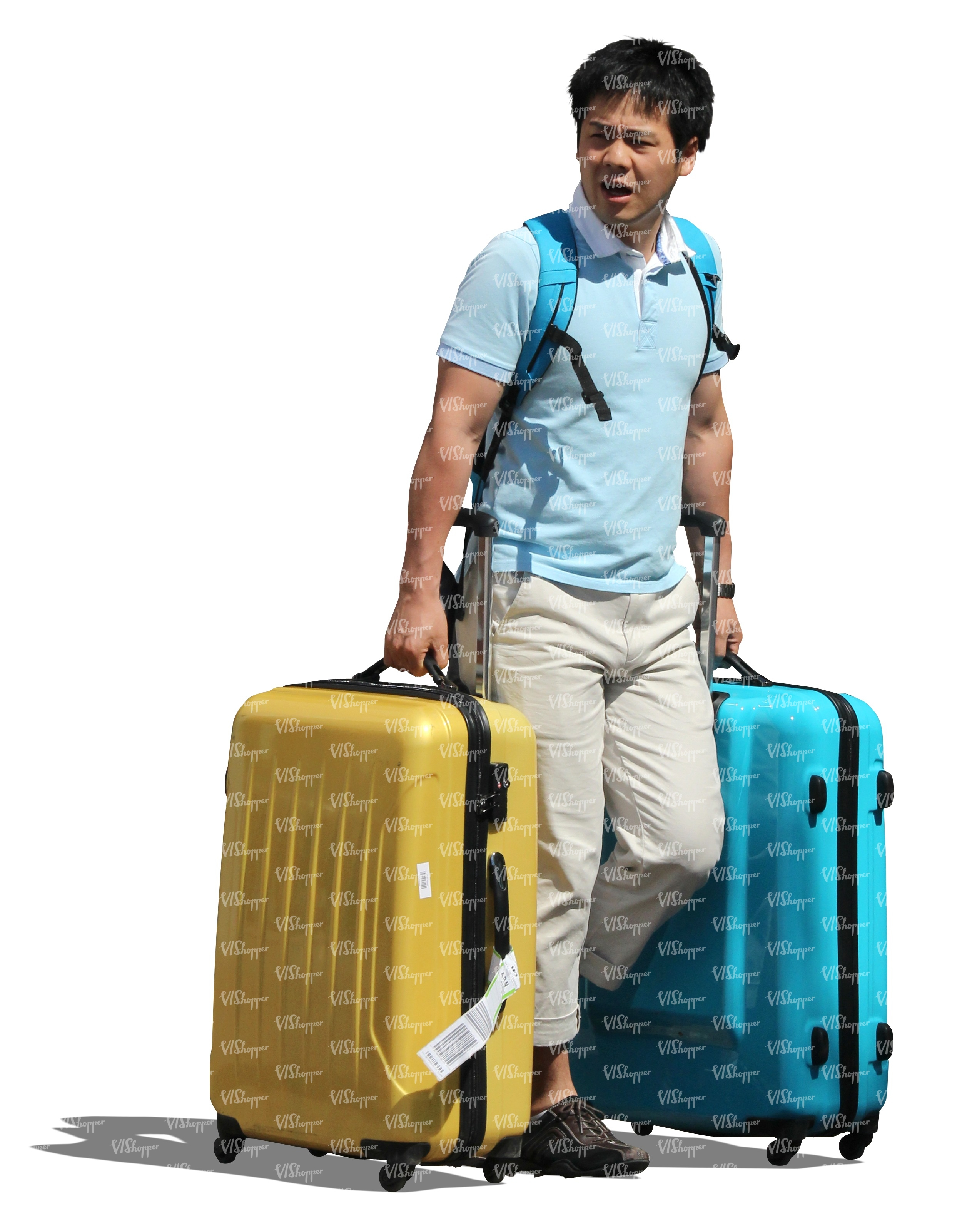 cut out asian man with two suitcases - cut out people - VIShopper