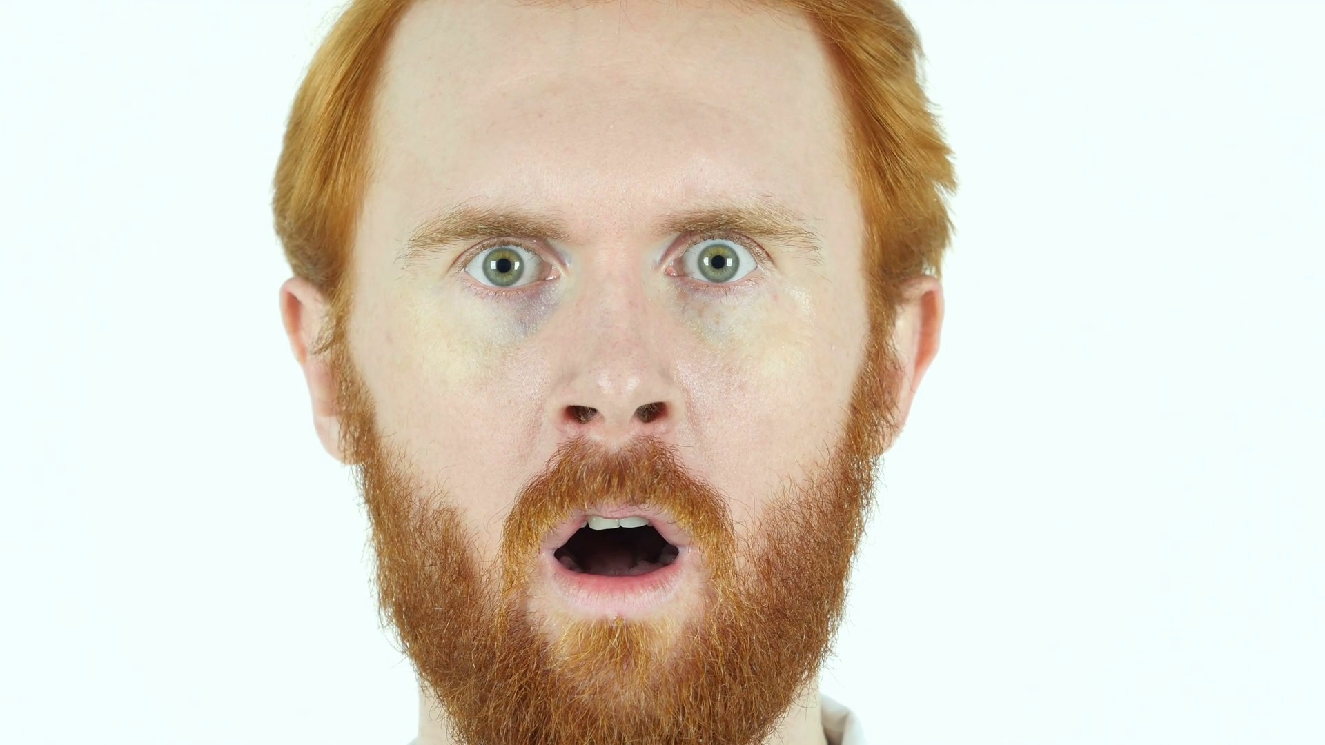 Red Hair Beard Man in Shock, Face Close Up Stock Video Footage ...