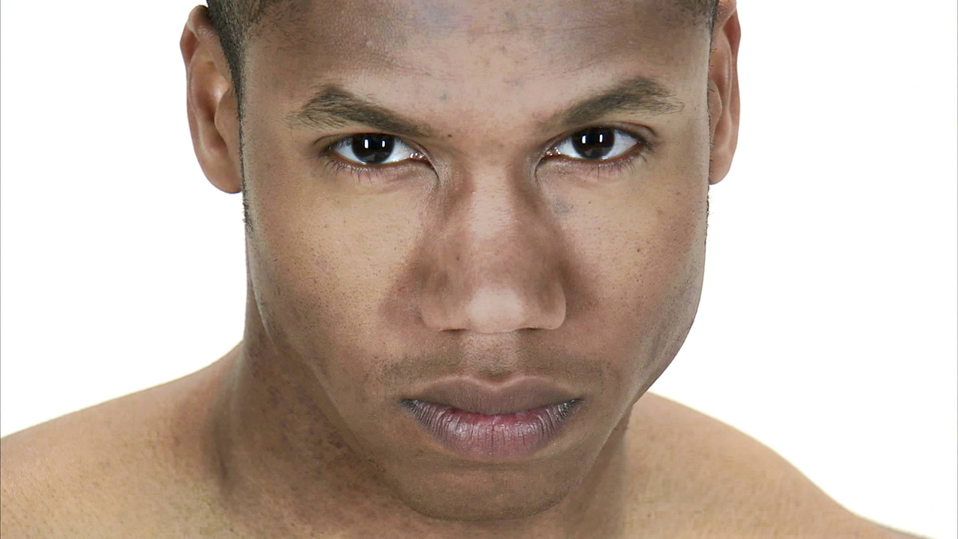 Close up of a man's face looking up and staring intently, stock ...