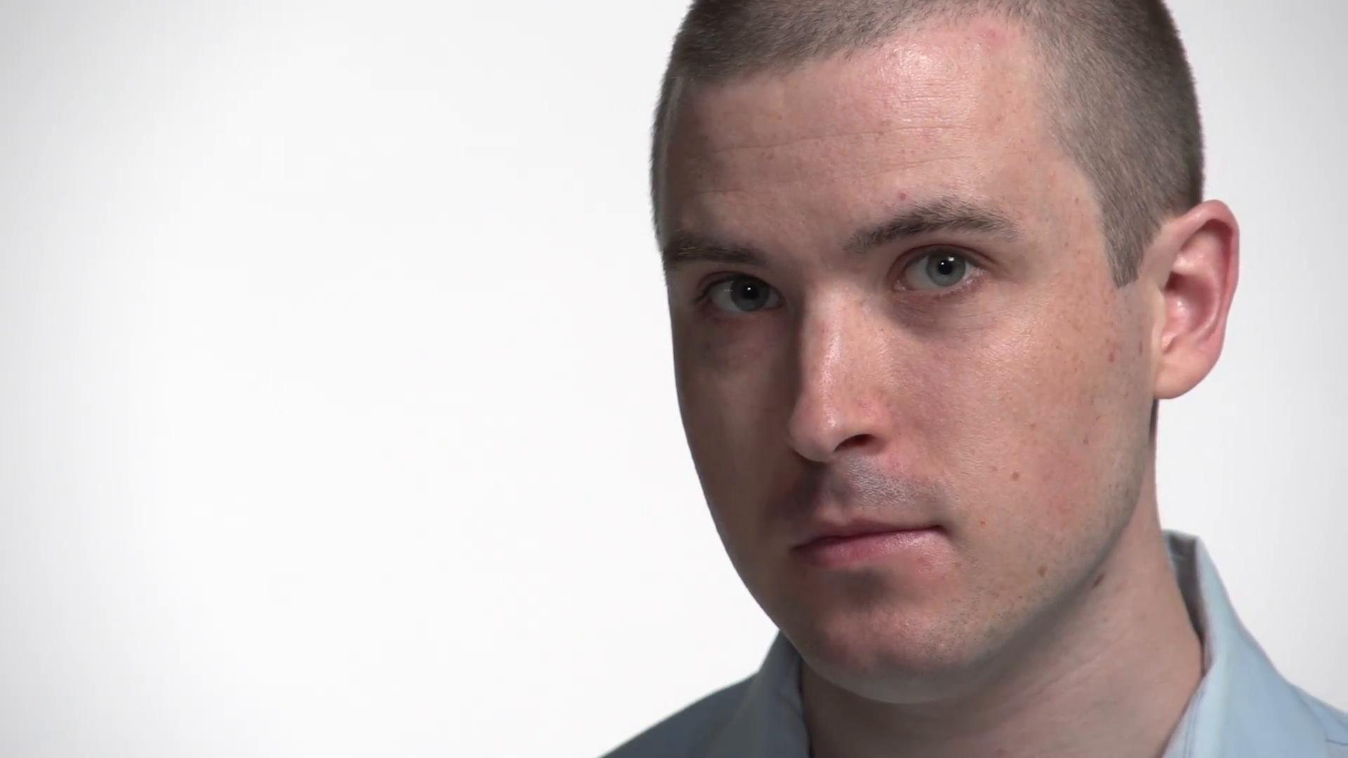 Caucasian man's face on white, smiling Stock Video Footage - Videoblocks