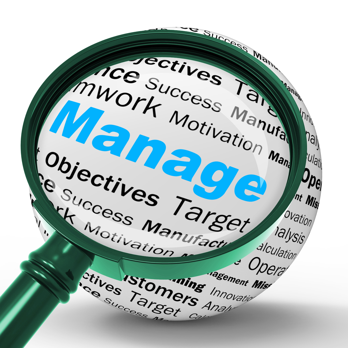 Manage magnifier definition means business administration or developme photo