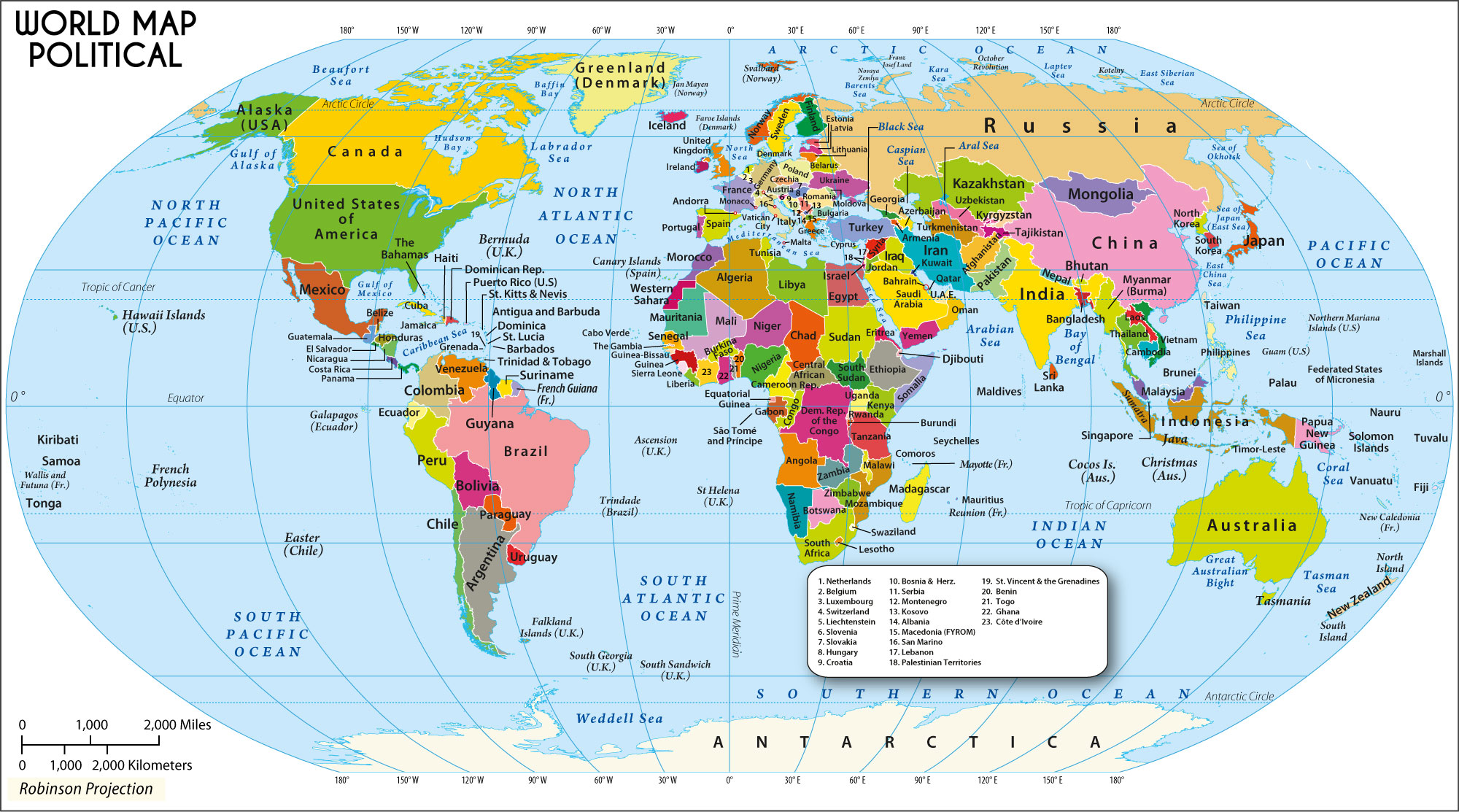 Large World Map in Robinson Projection in 2000px