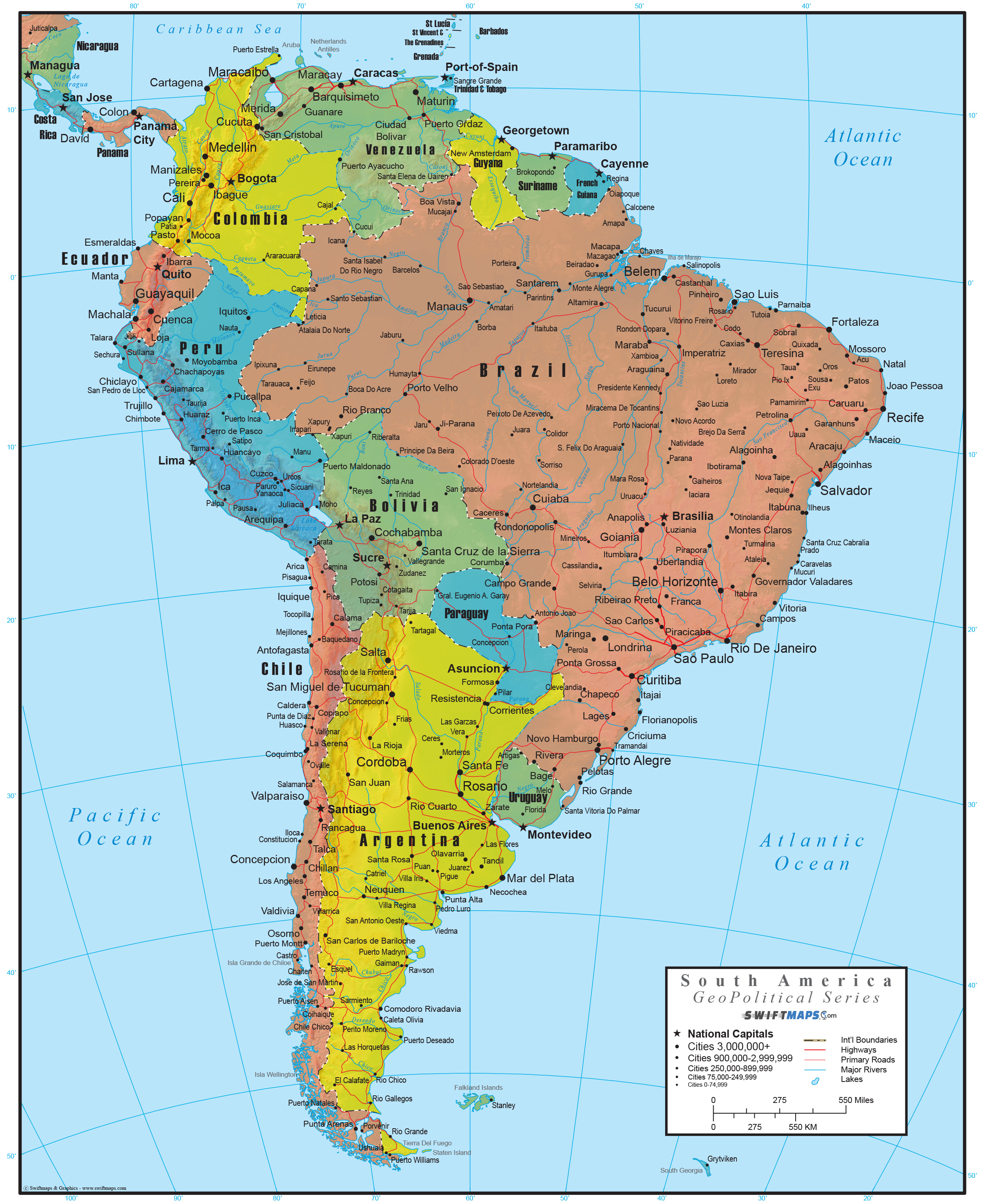 South America Wall Map GeoPolitical Deluxe Edition