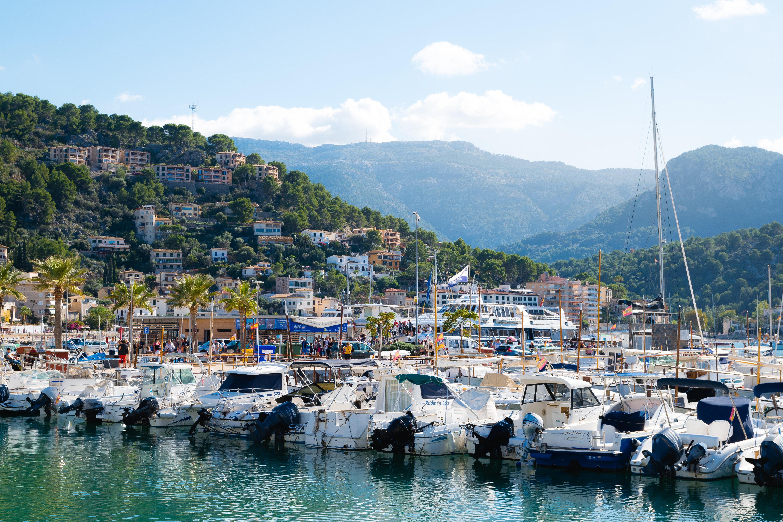 Marina bay with parked yachts photo