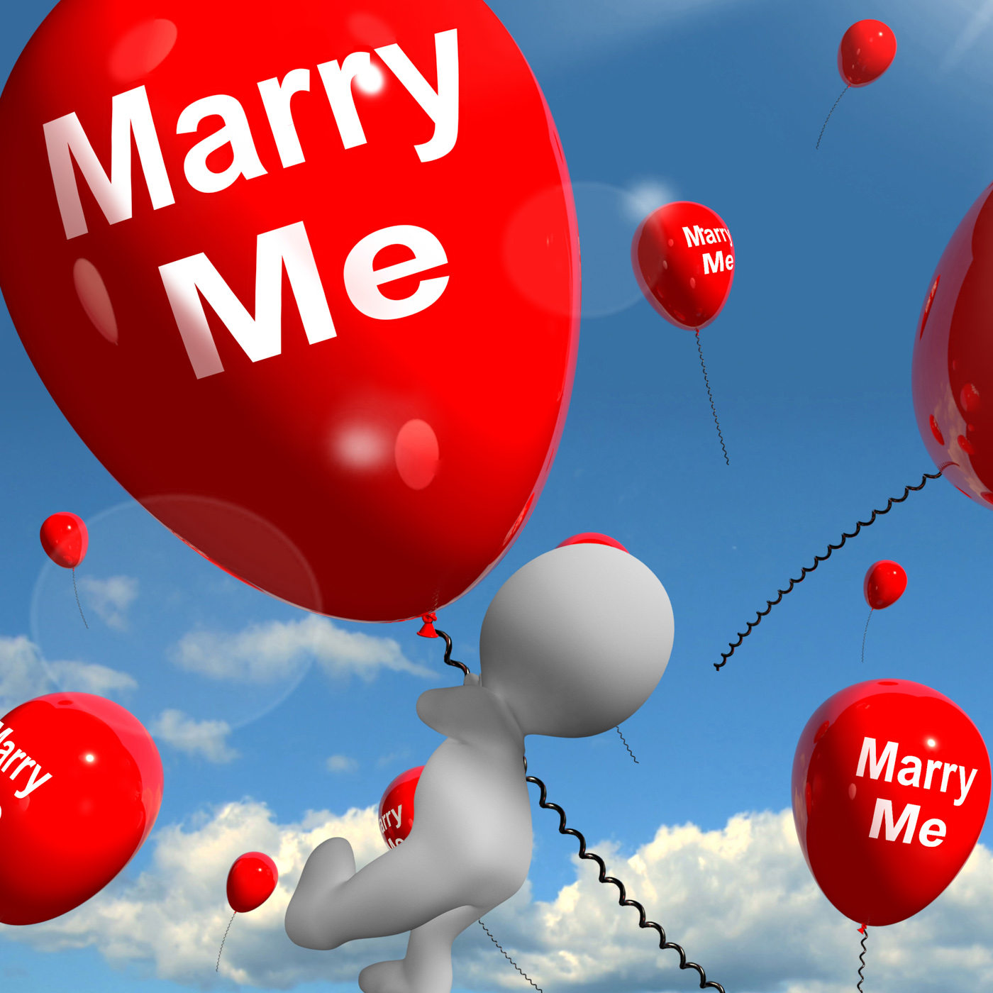 Marry me balloons represents engagement proposal for lovers photo
