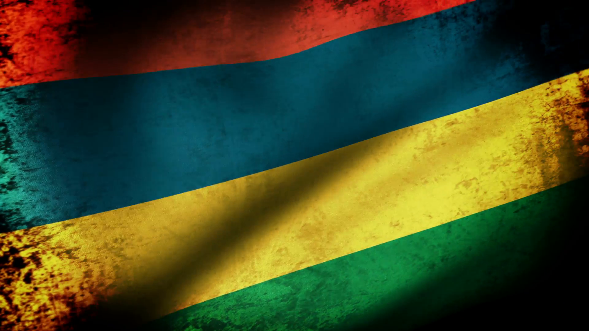 Mauritius Flag Waving, grunge look Motion Background - VideoBlocks