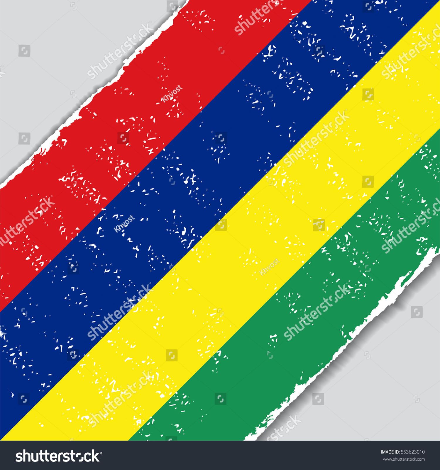 Mauritius Grunge Flag Diagonal Background Raster Stock Illustration ...