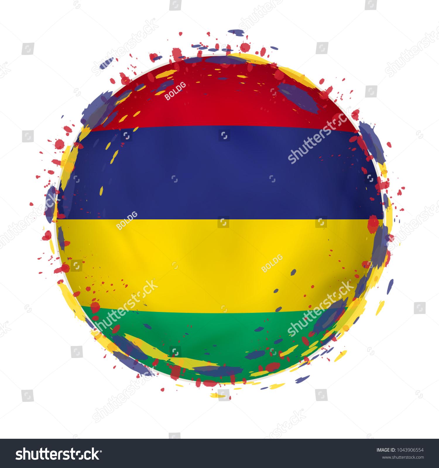 Round Grunge Flag Mauritius Splashes Flag Stock Vector HD (Royalty ...