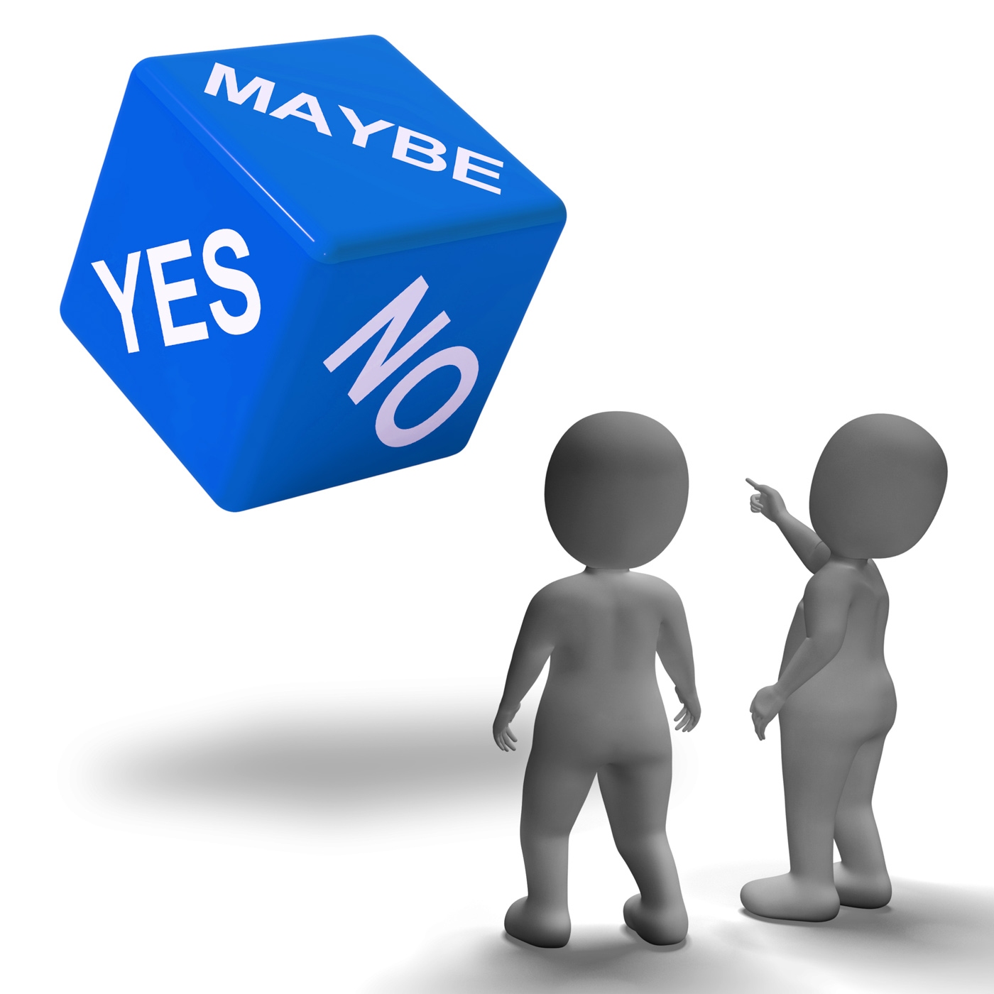 Maybe yes no dice represents uncertainty and decisions photo