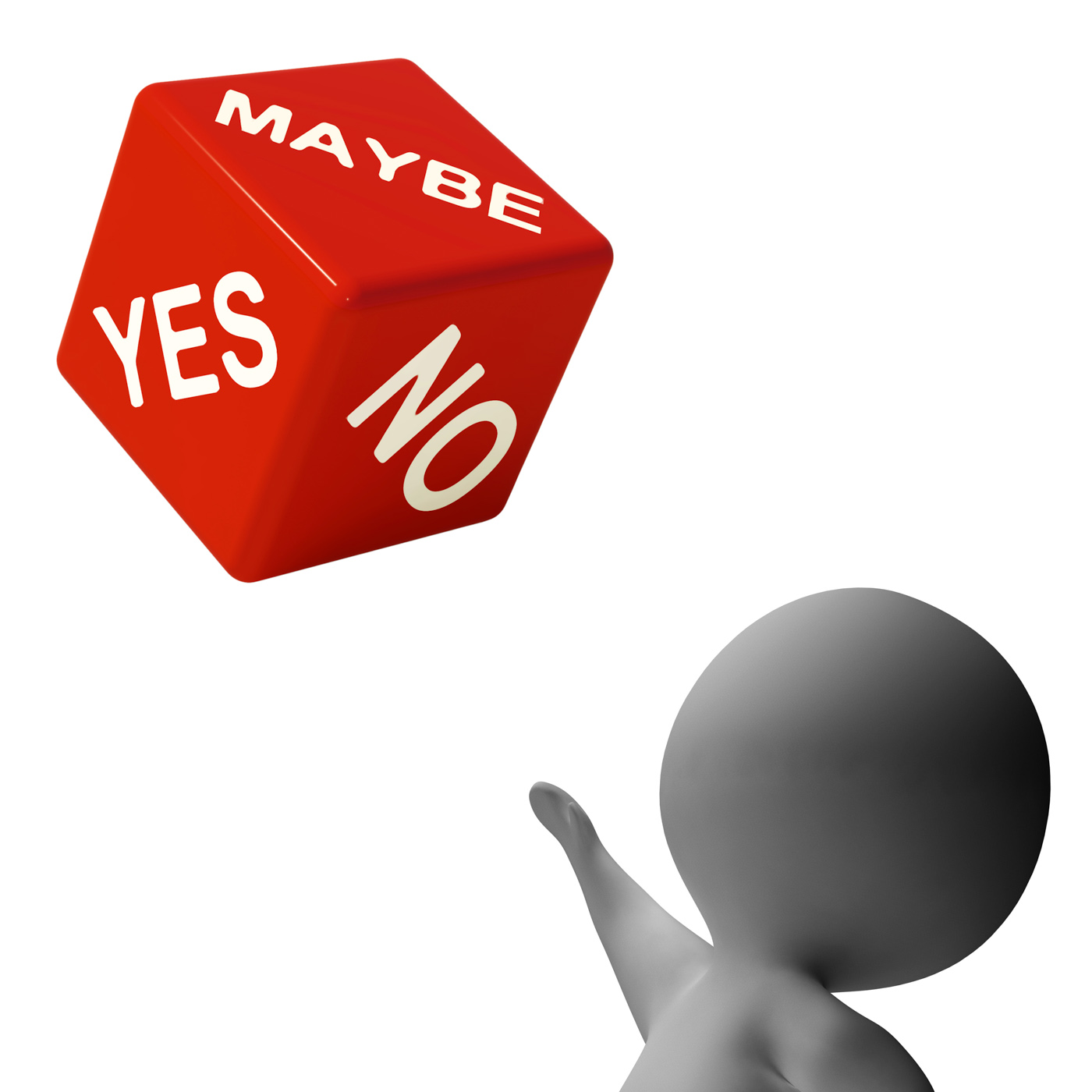 Maybe yes no dice shows uncertainty and decisions photo