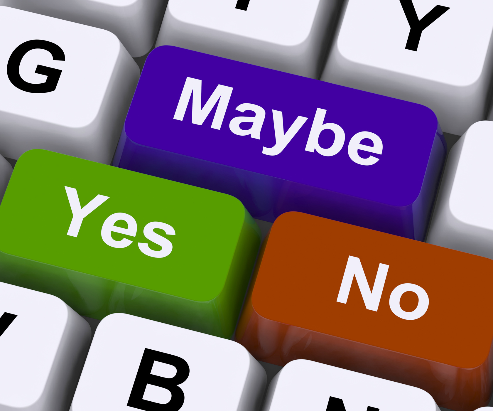 Maybe yes no keys representing decisions photo