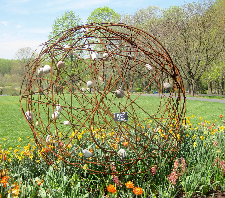 File:Metal rod & rock sculpture - Meadowlark Botanical Gardens ...