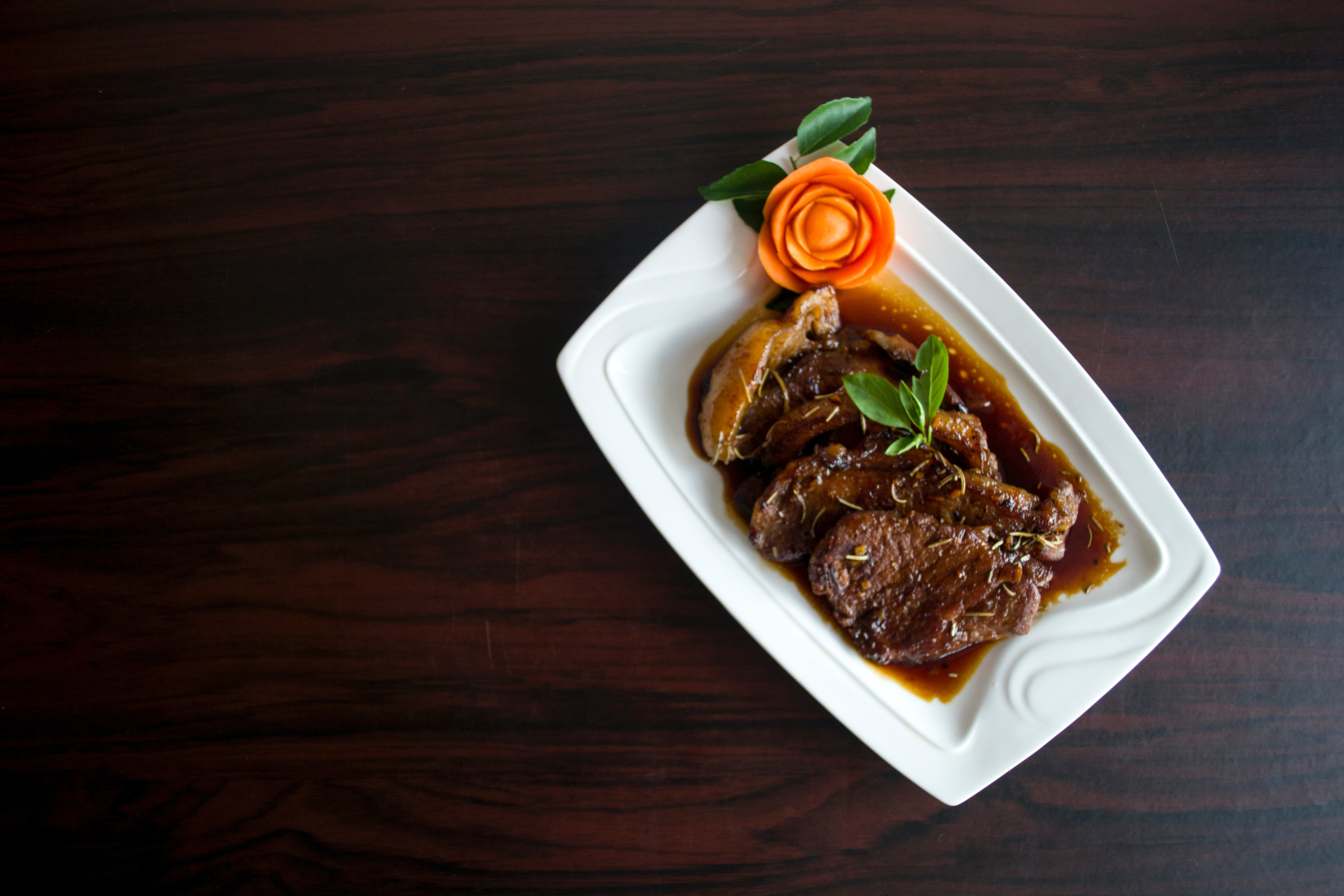 Meat With Sauce Dish on White Ceramic Plate, Meat, Meal, Lunch, Plate, HQ Photo