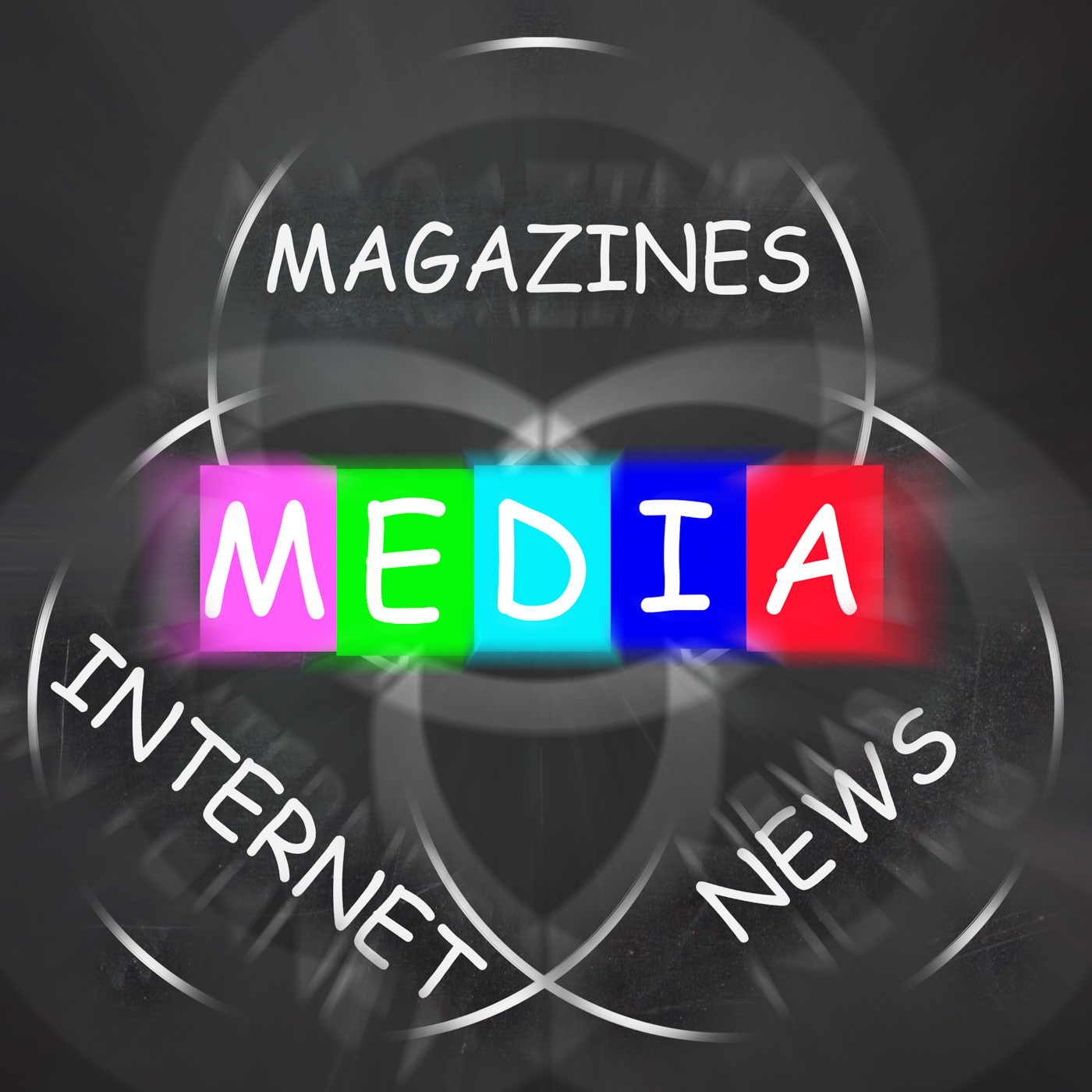 Media words displays magazines internet and news photo