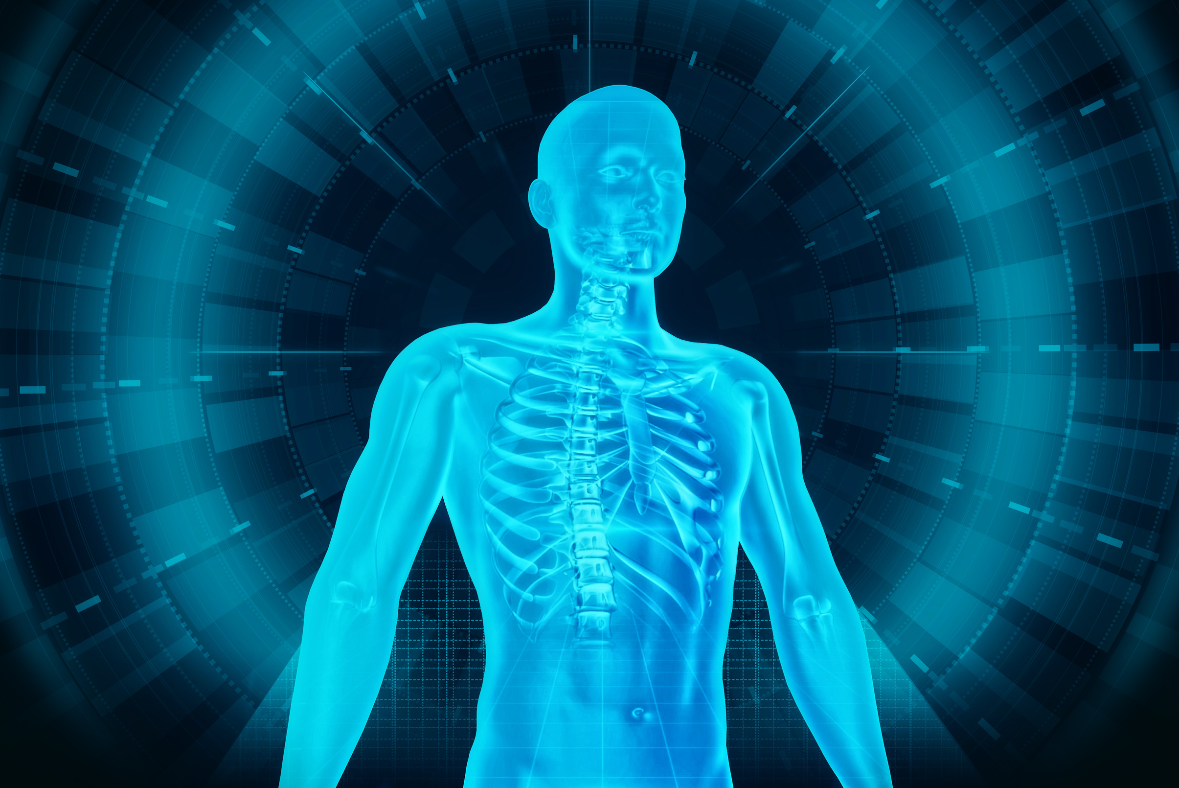 Medical human body scan - man and technology photo