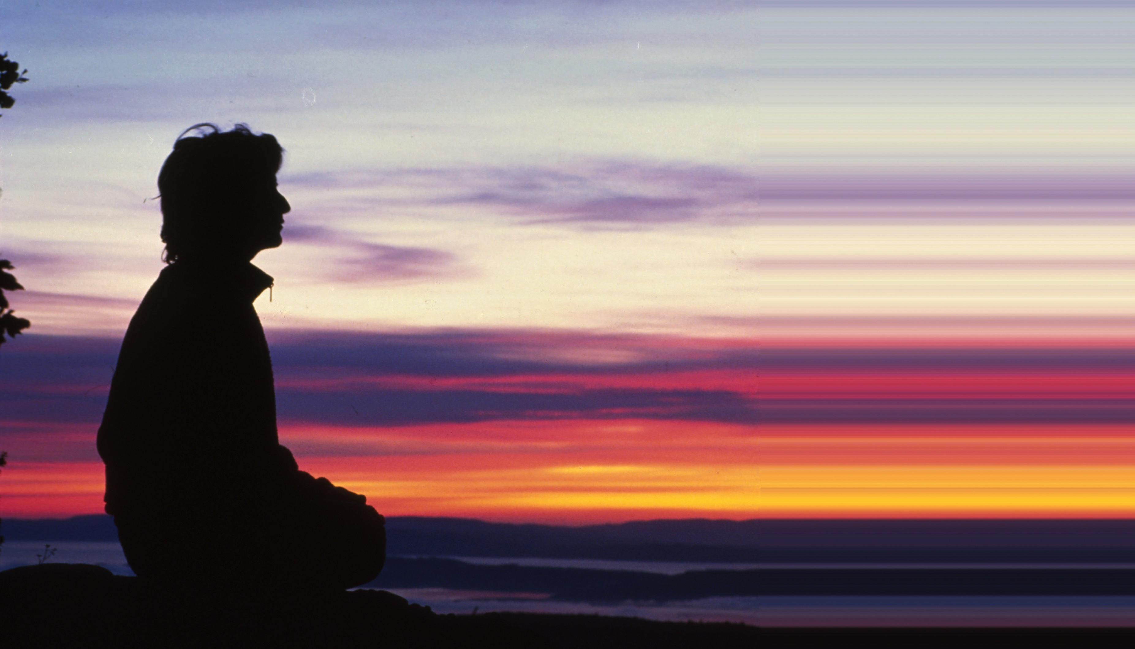Meditation at sunset photo