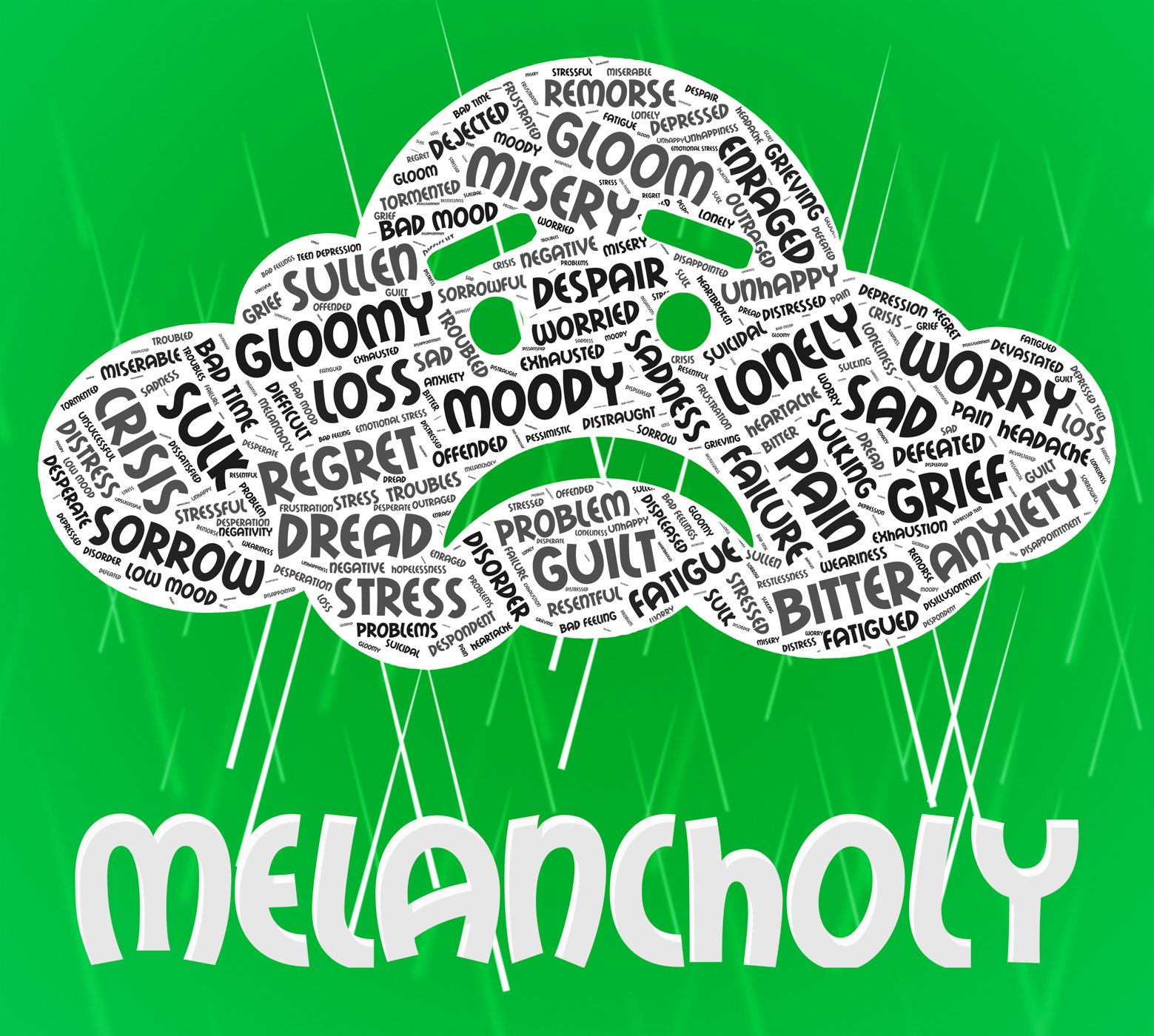 Melancholy Word Means Low Spirits And Dejected, Defeatism, Melancholy, Wordclouds, Wordcloud, HQ Photo
