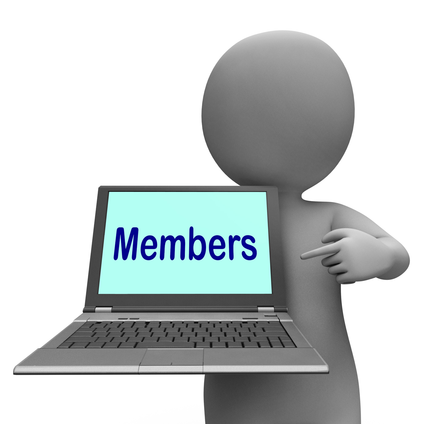 Members laptop shows member register and web subscribing photo