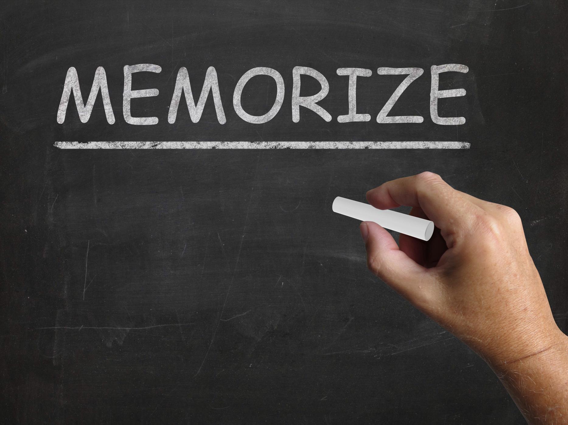 Memorize blackboard shows learn information by heart photo