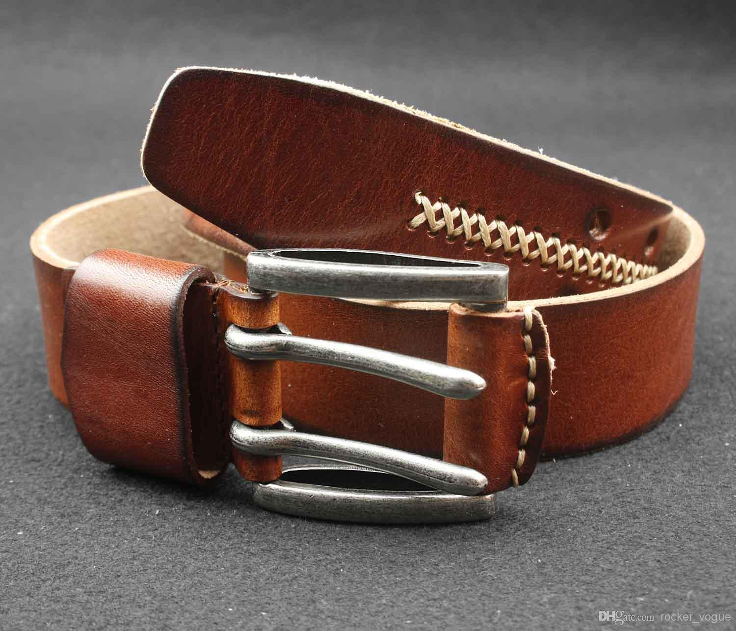 Mens 2 Double Holes Dress Casual Leather Belt 2prong Roller ...