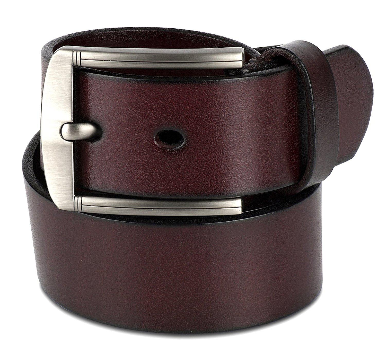 Scott Allan Men's Full Grain 100% Leather Belt - Burgundy/Wine, Size ...