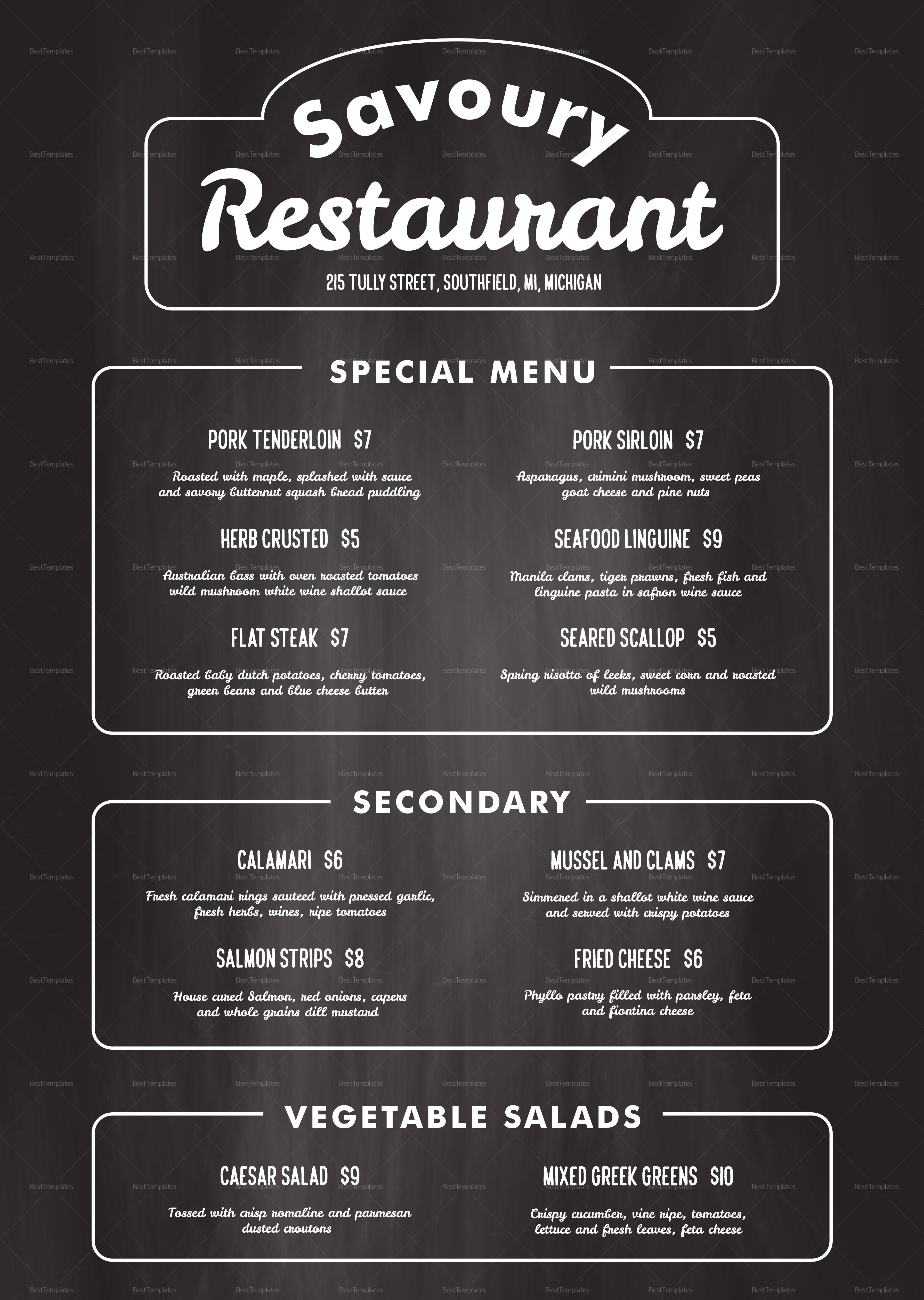 Chalkboard Restaurant Menu Design Template in PSD, Word, Publisher ...