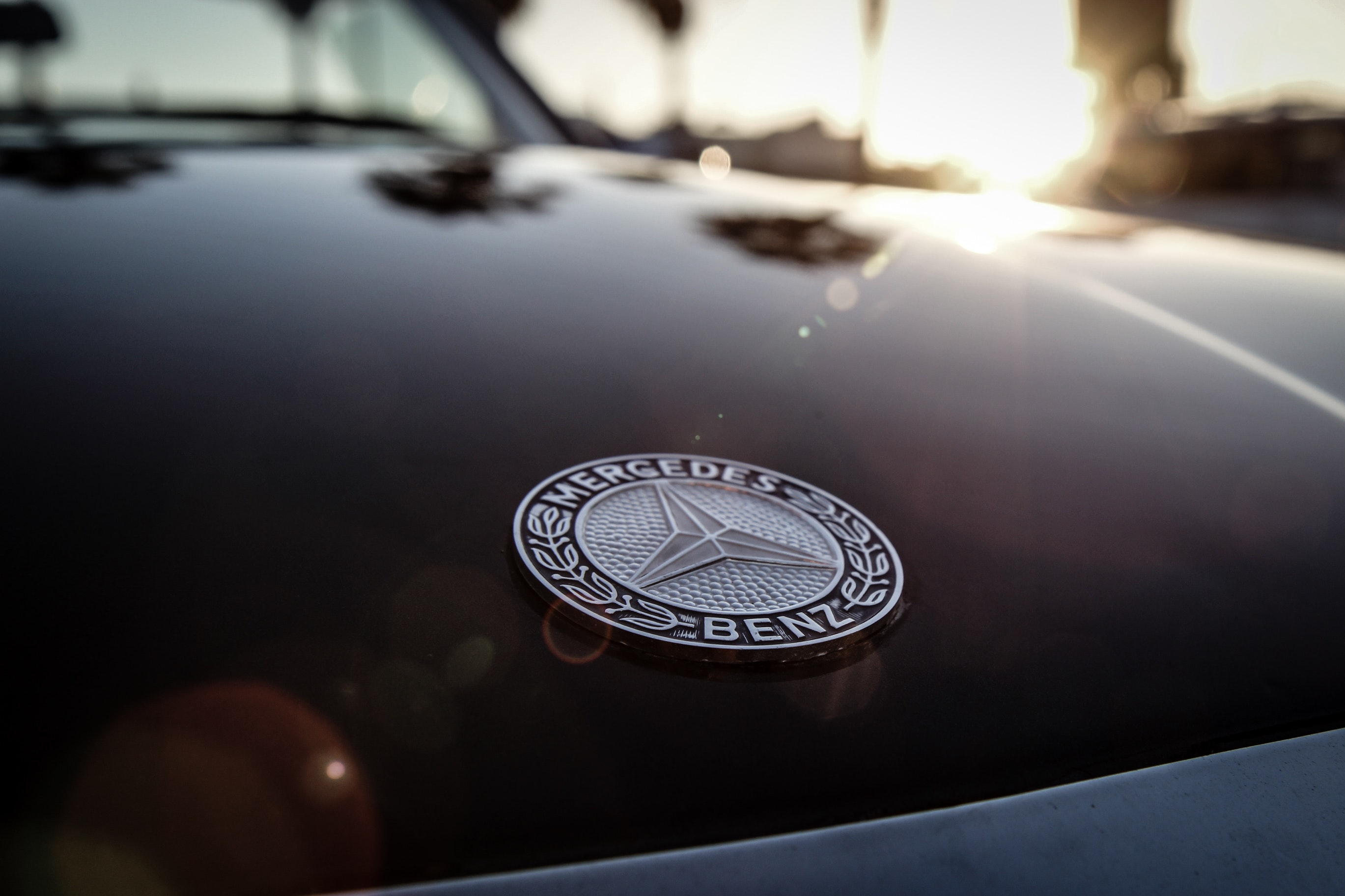 Mercedes-benz Logo, Automobile, Vehicle, Transportation system, Sunset, HQ Photo