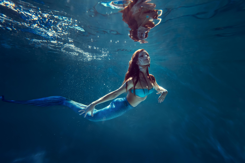 Mermaid Underwater Digital Background - Layered PSD