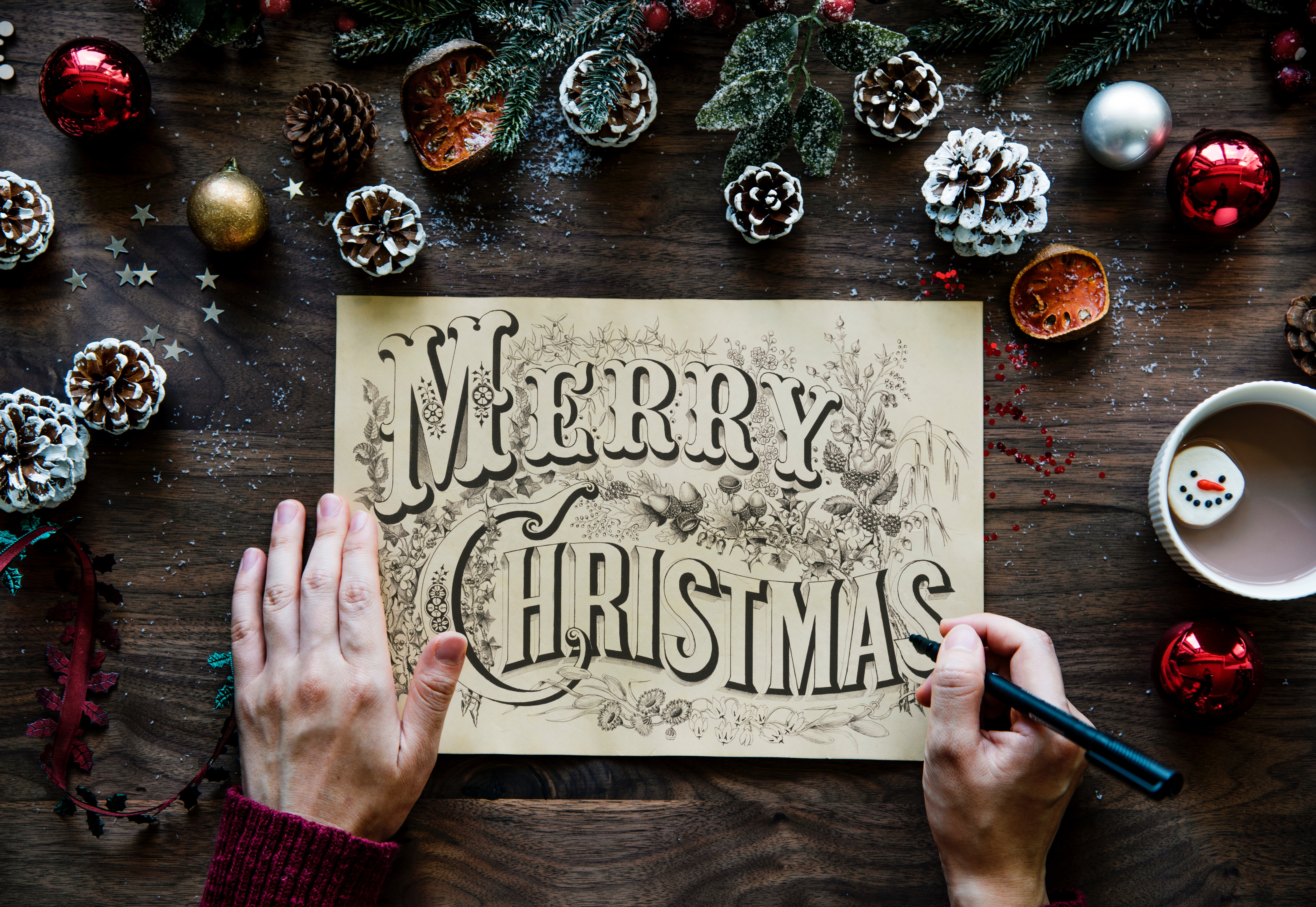Free photo merry christmas greeting photo person pen paper merry christmas greeting photo m4hsunfo