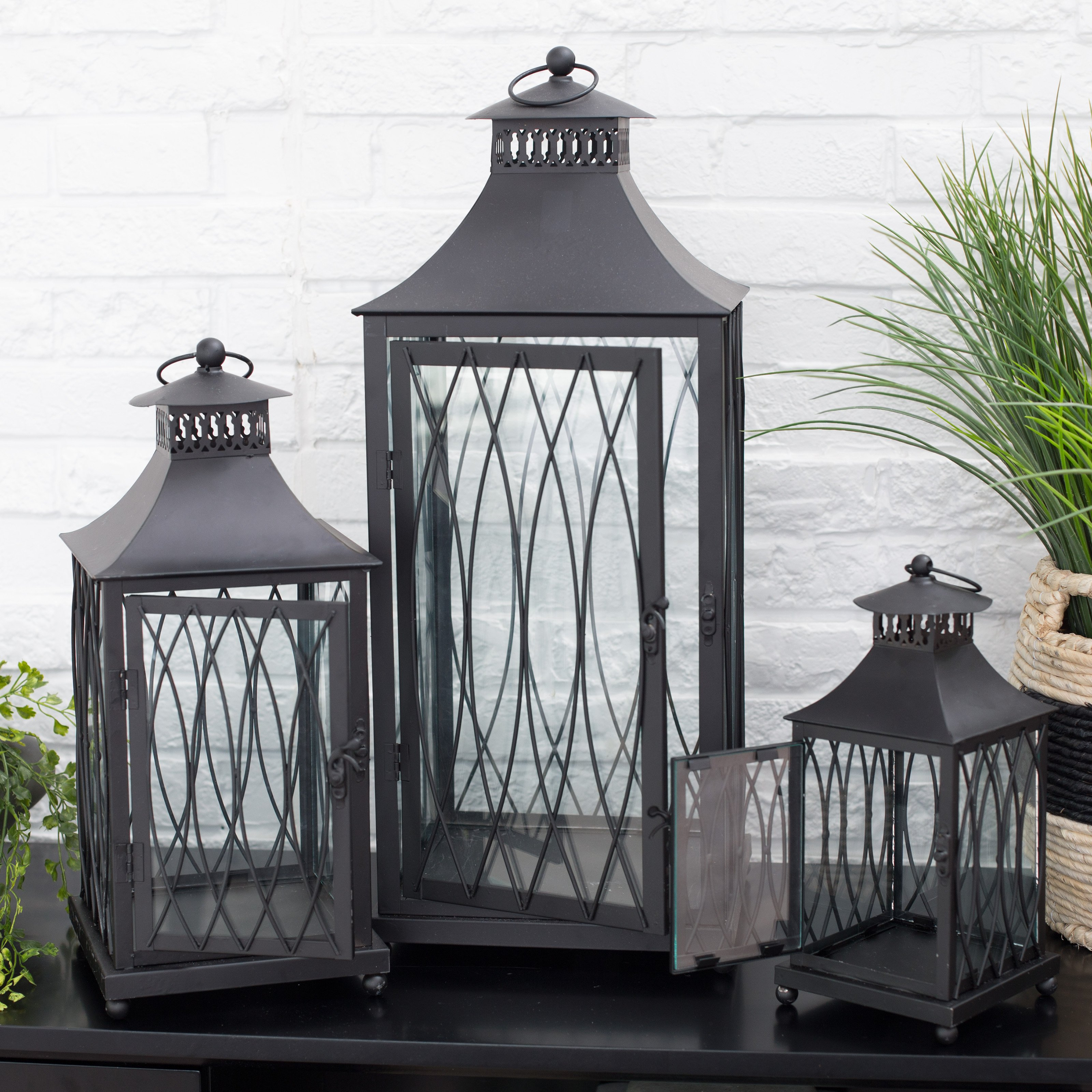 Hawthorne Black Metal Lanterns - Set of 3 | Hayneedle