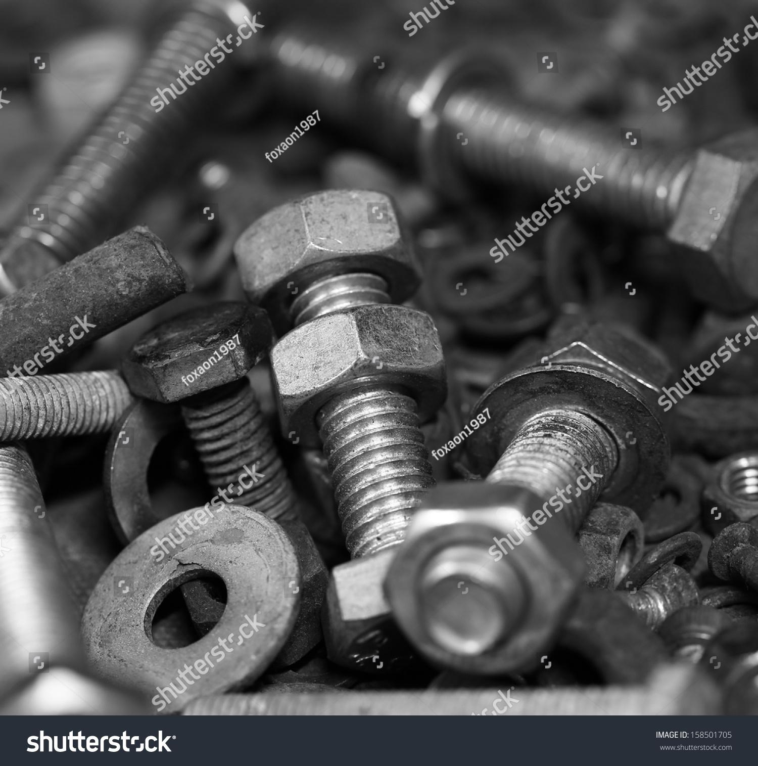 Metallic bolts photo
