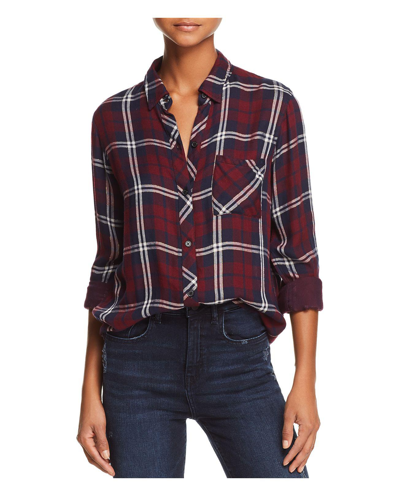 Lyst - Rails Gemini Metallic Plaid Shirt in Red