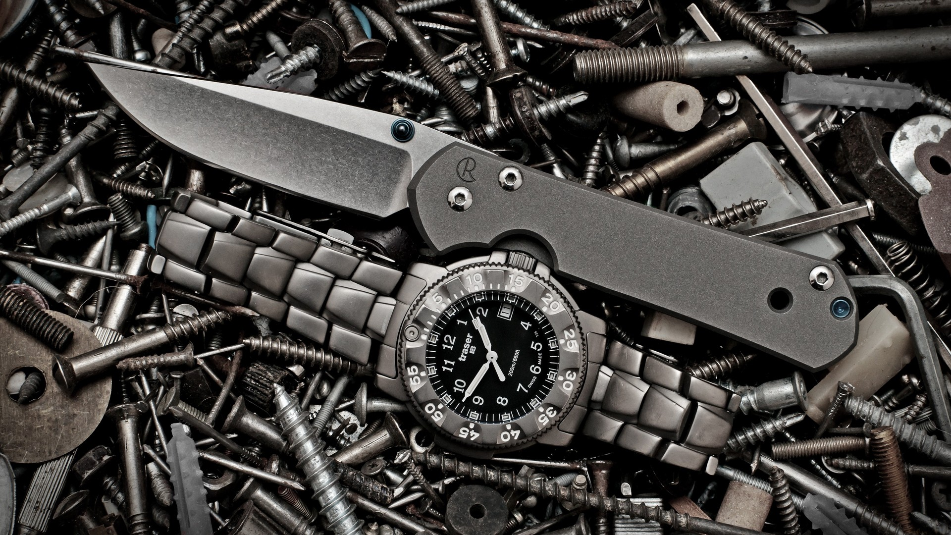 steel, metallic, bolt, tools, nails, knives, watches, screw, time ...