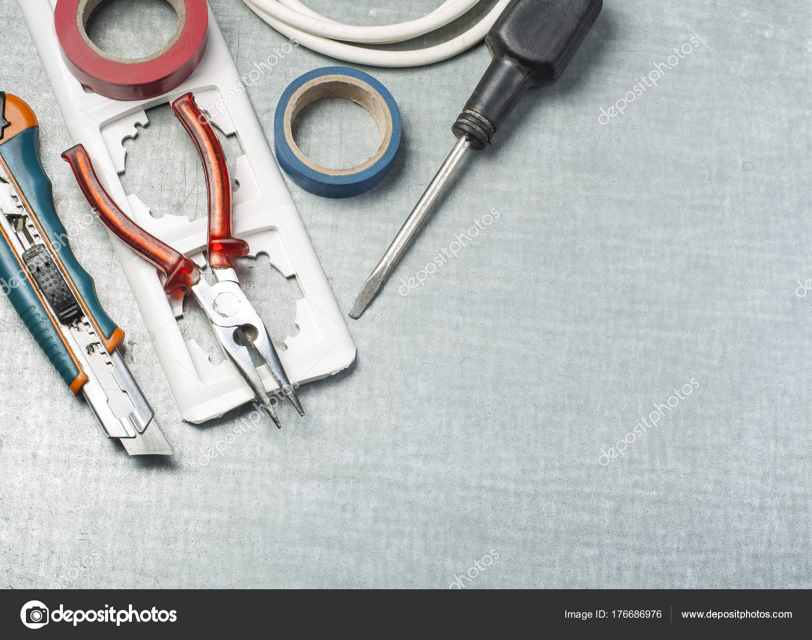 Set of electrical tools on metallic background. Energy concept.Copy ...