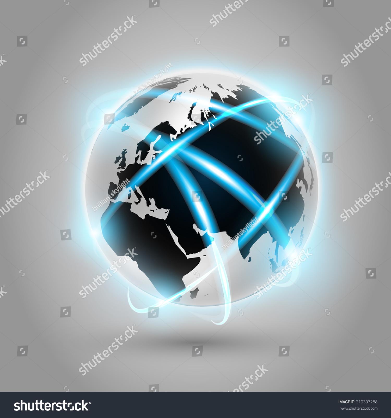Shiny Modern Metallic World Globe Connections Stock Illustration ...