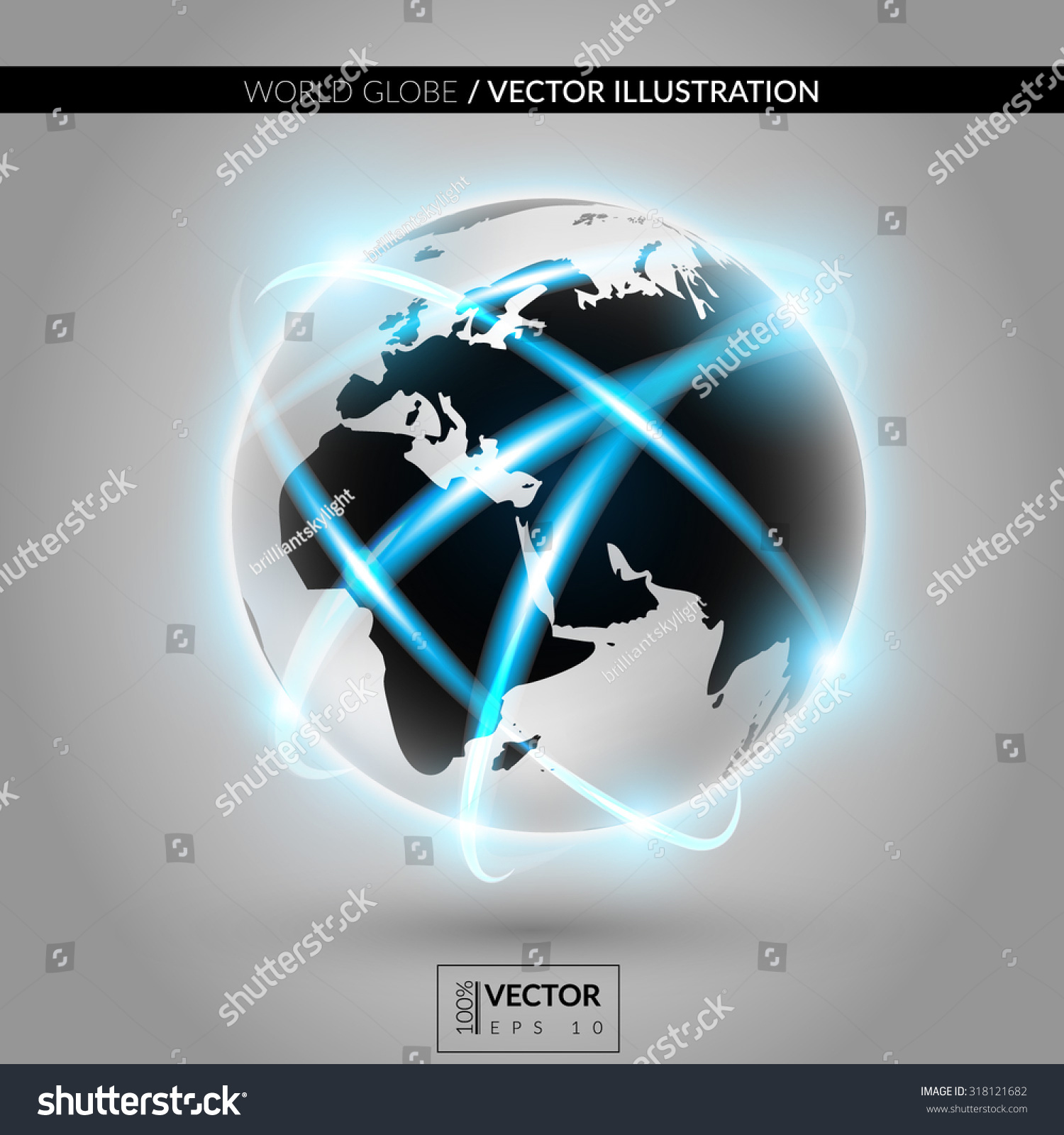 Shiny Modern Metallic World Globe Connections Stock Vector 318121682 ...