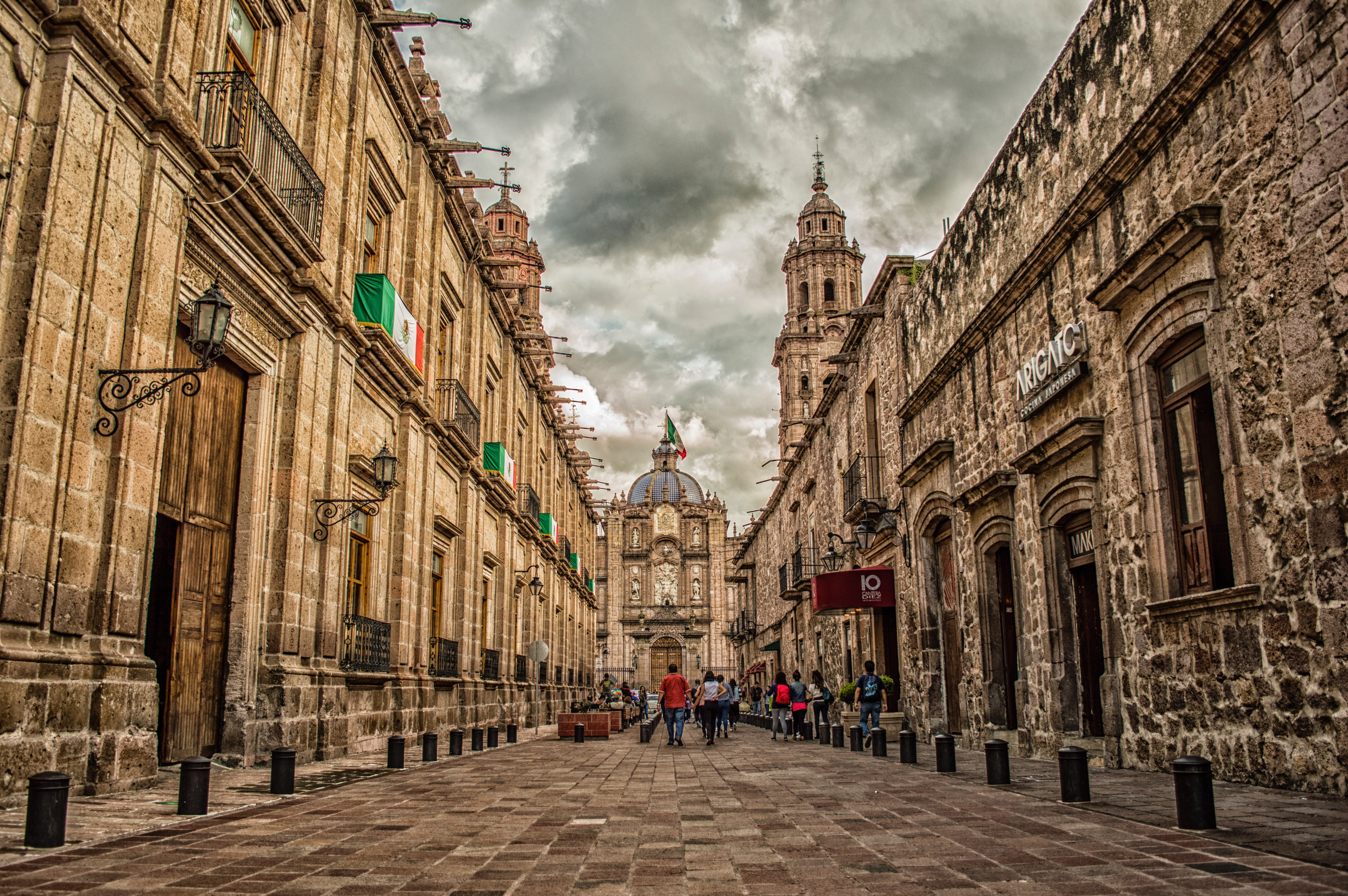 Mexico Flag on Brown 2-storey Building, Ancient, Shop, Low angle shot, Monument, HQ Photo