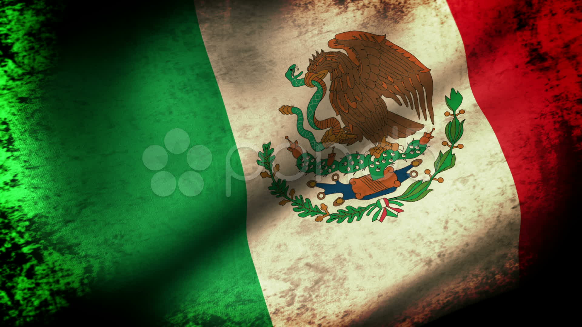 Mexico Flag Waving, grunge look ~ Stock Video #11323015