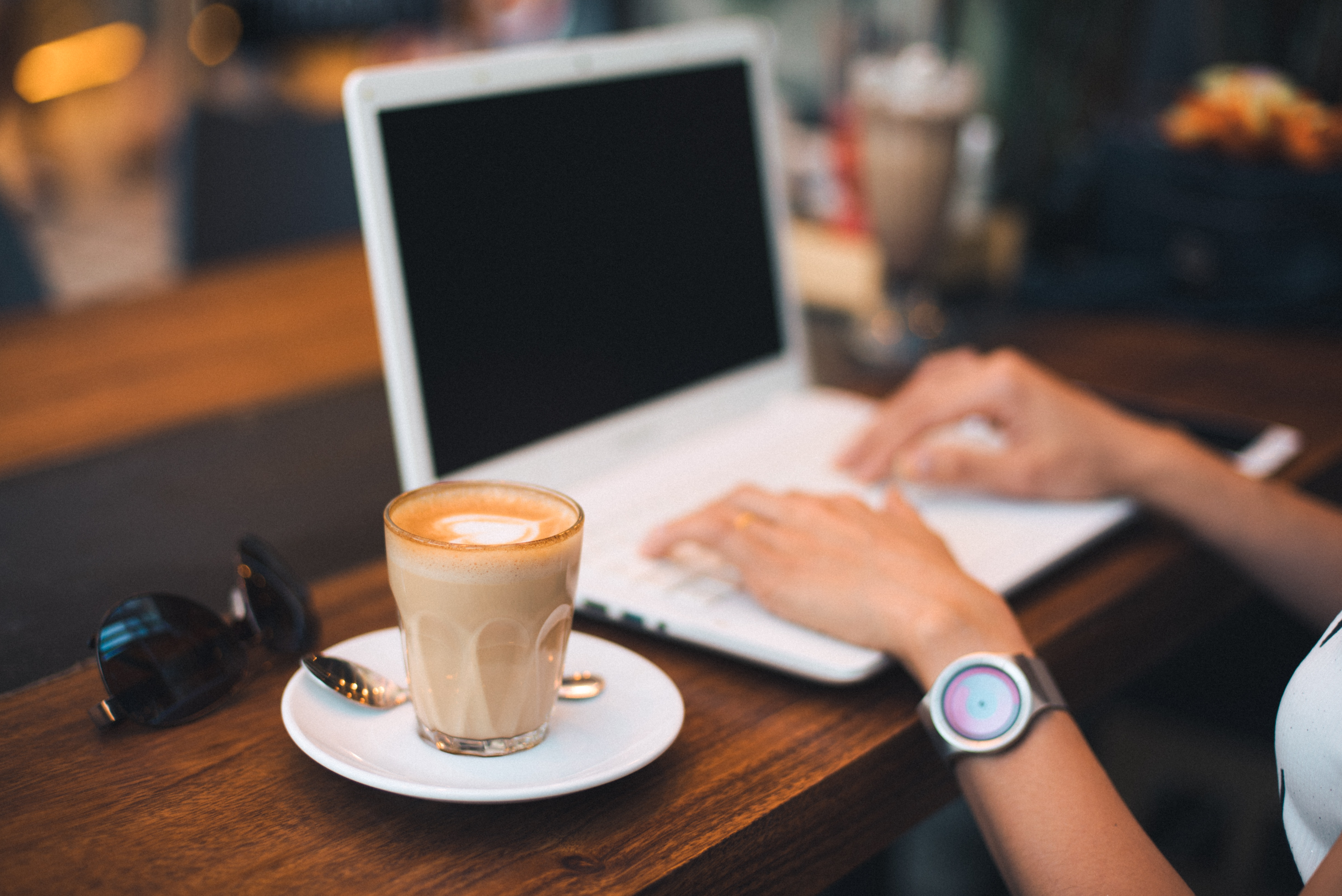 Midsection of Man Using Mobile Phone While Sitting on Table, Coffee, Computer, Cup, Desk, HQ Photo