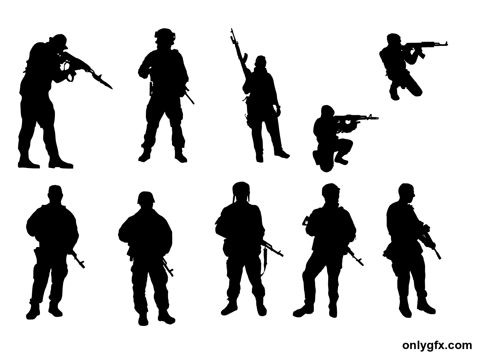 10 Soldier Silhouette (PNG Transparent)   OnlyGFX.com