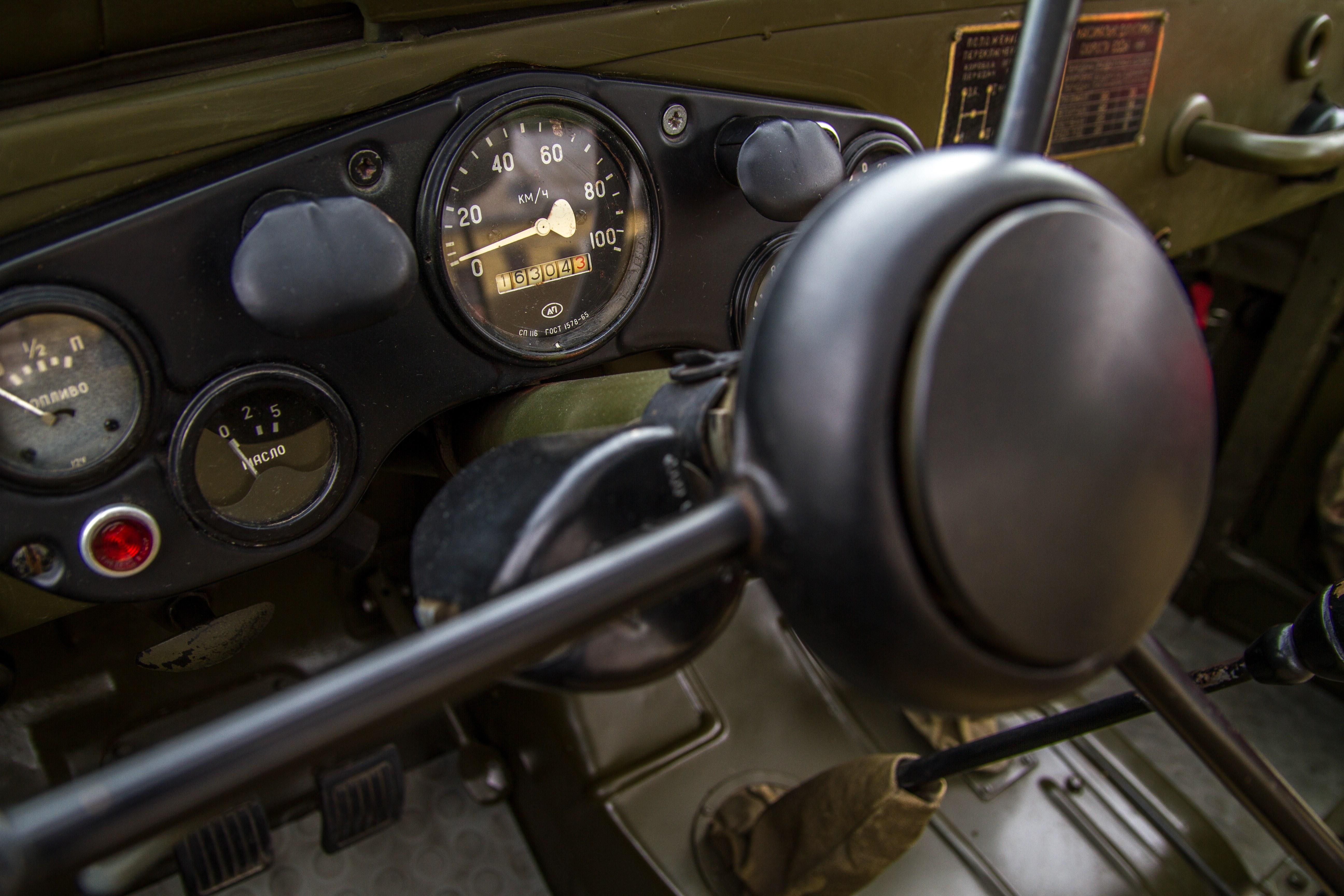 Military vehicle steering wheel photo
