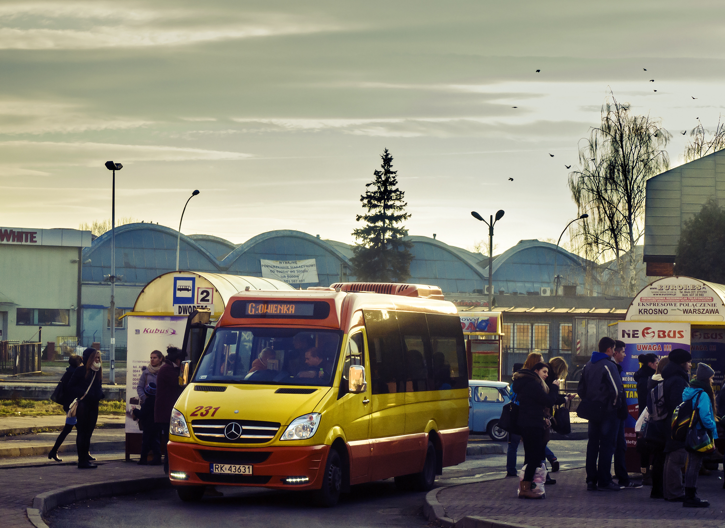 Minibus Autocuby City Line, Station, Transport, Public, Poland, HQ Photo