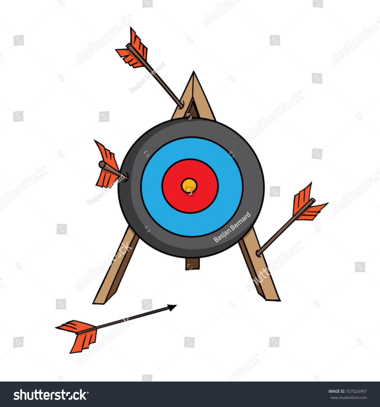 Cartoon Archery Target Arrows Missing Mark Stock Vector (2018 ...