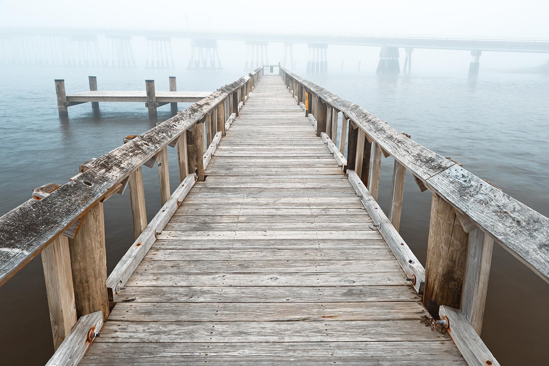 Misty assateague pier - high key hdr photo
