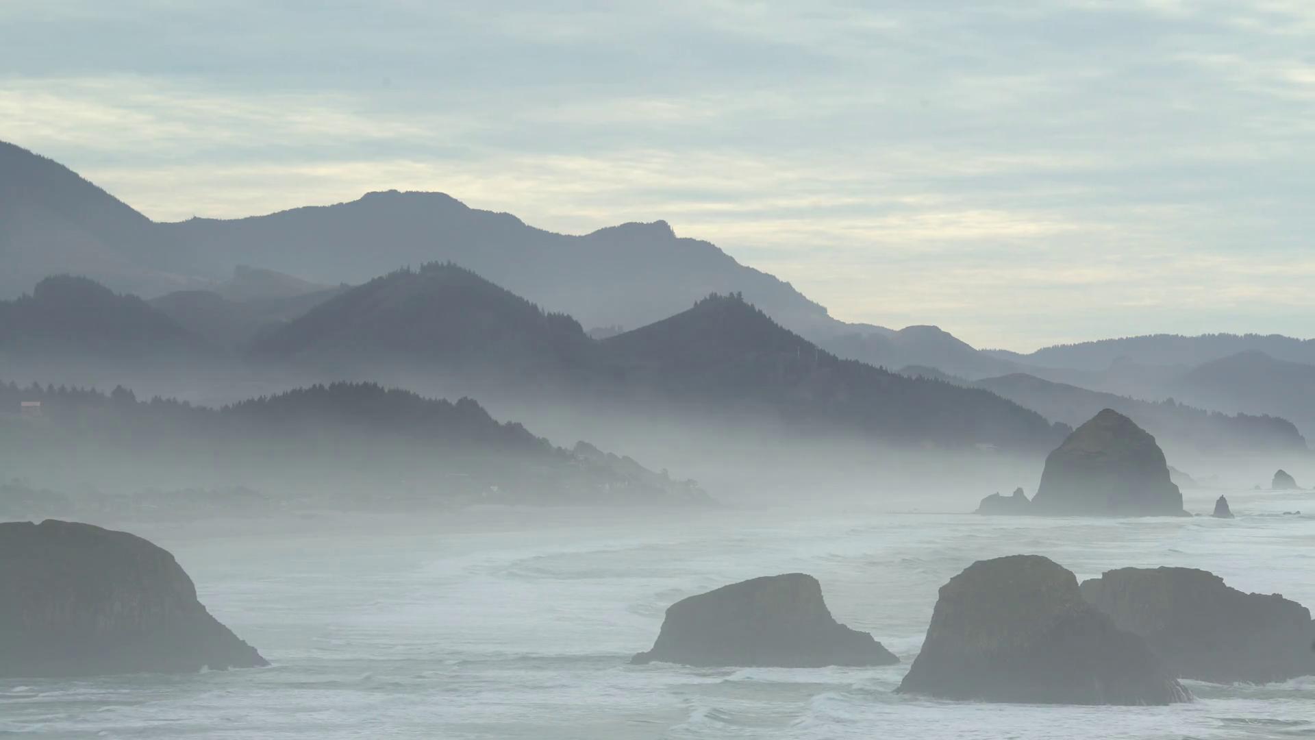 Misty Oregon Shore. Sea salt haze from breaking waves on the Oregon ...