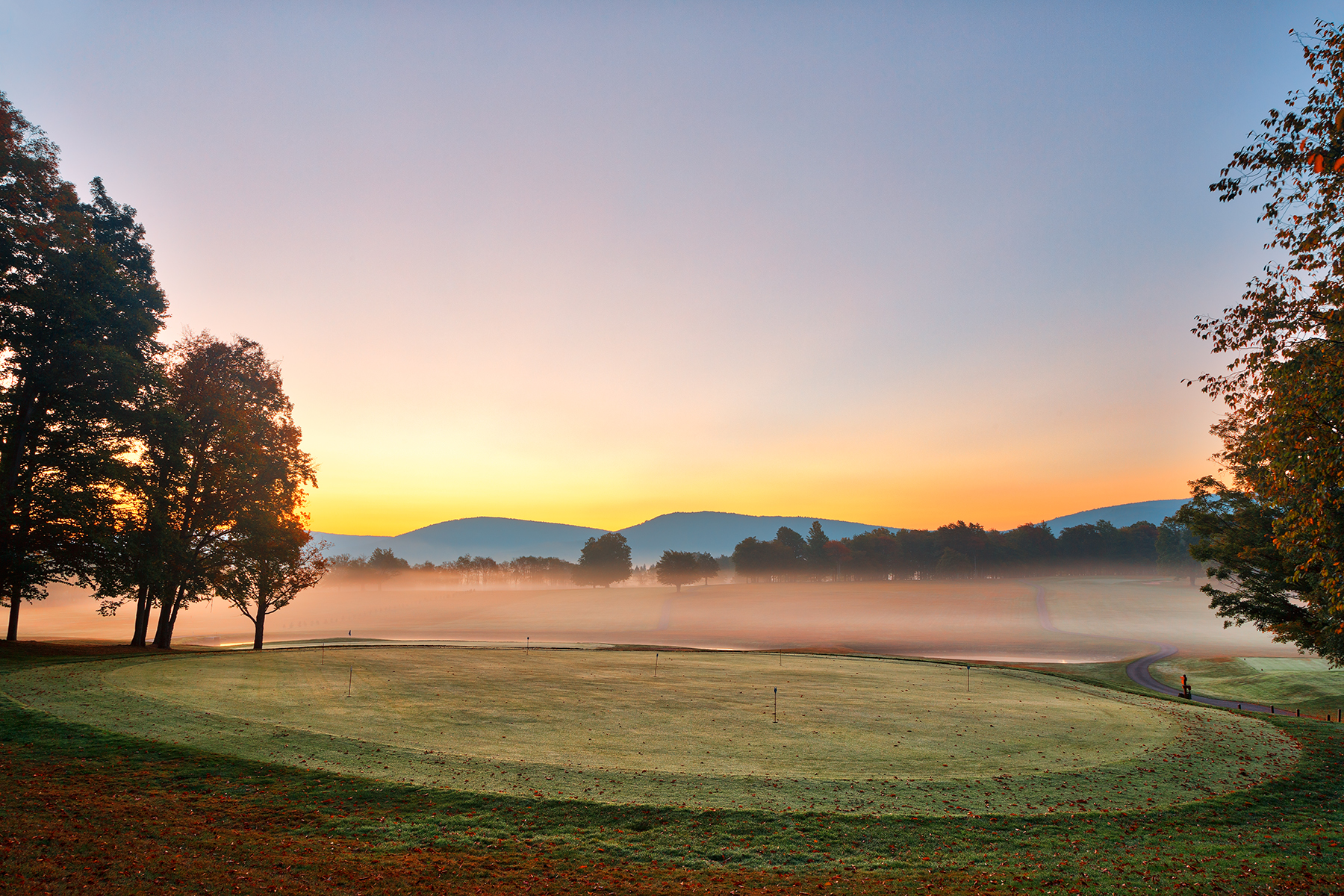 Misty Dawn Golf Course - HDR, America, Peaceful, Serene, Scenic, HQ Photo