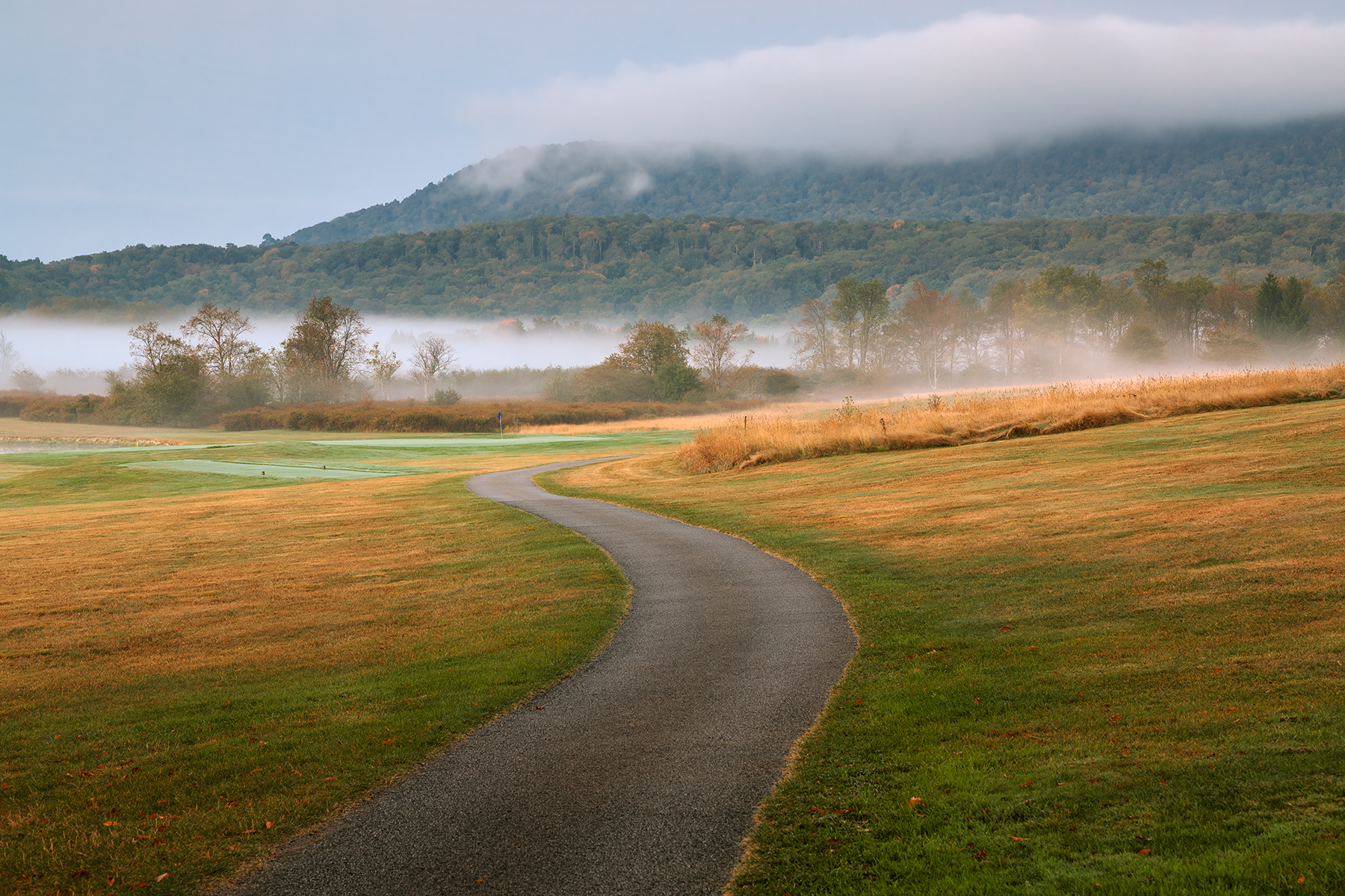 Misty dawn golf course - hdr photo