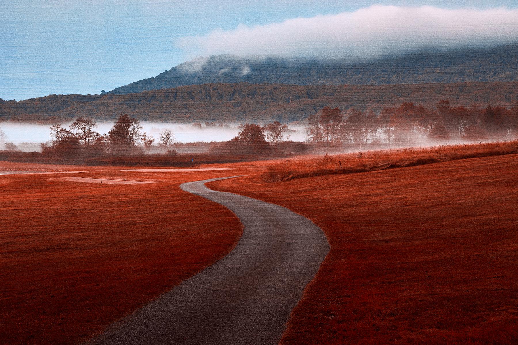 Misty dawn golf course - red carpet fantasy photo