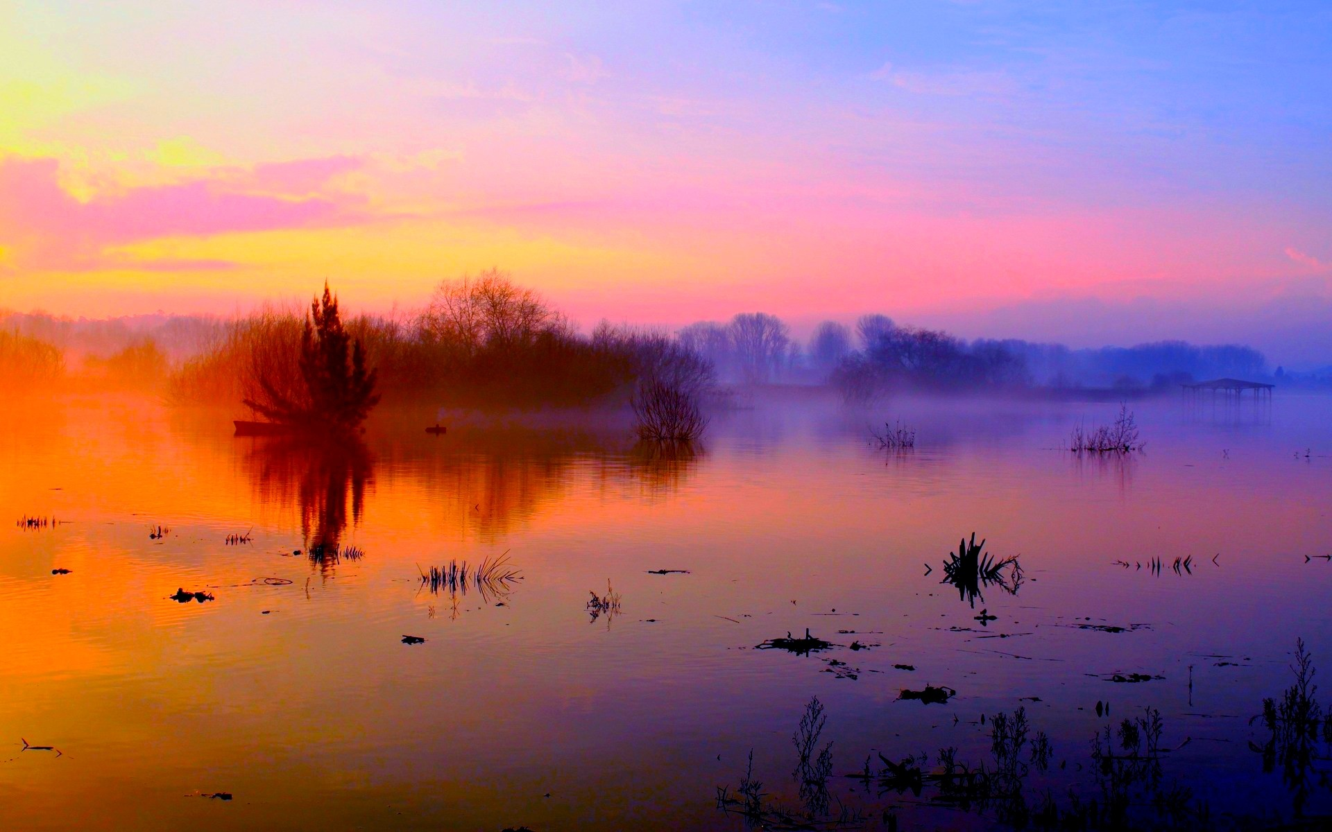 River Sky Sunrise Nature Fog Morning Misty Water Trees Scenery ...